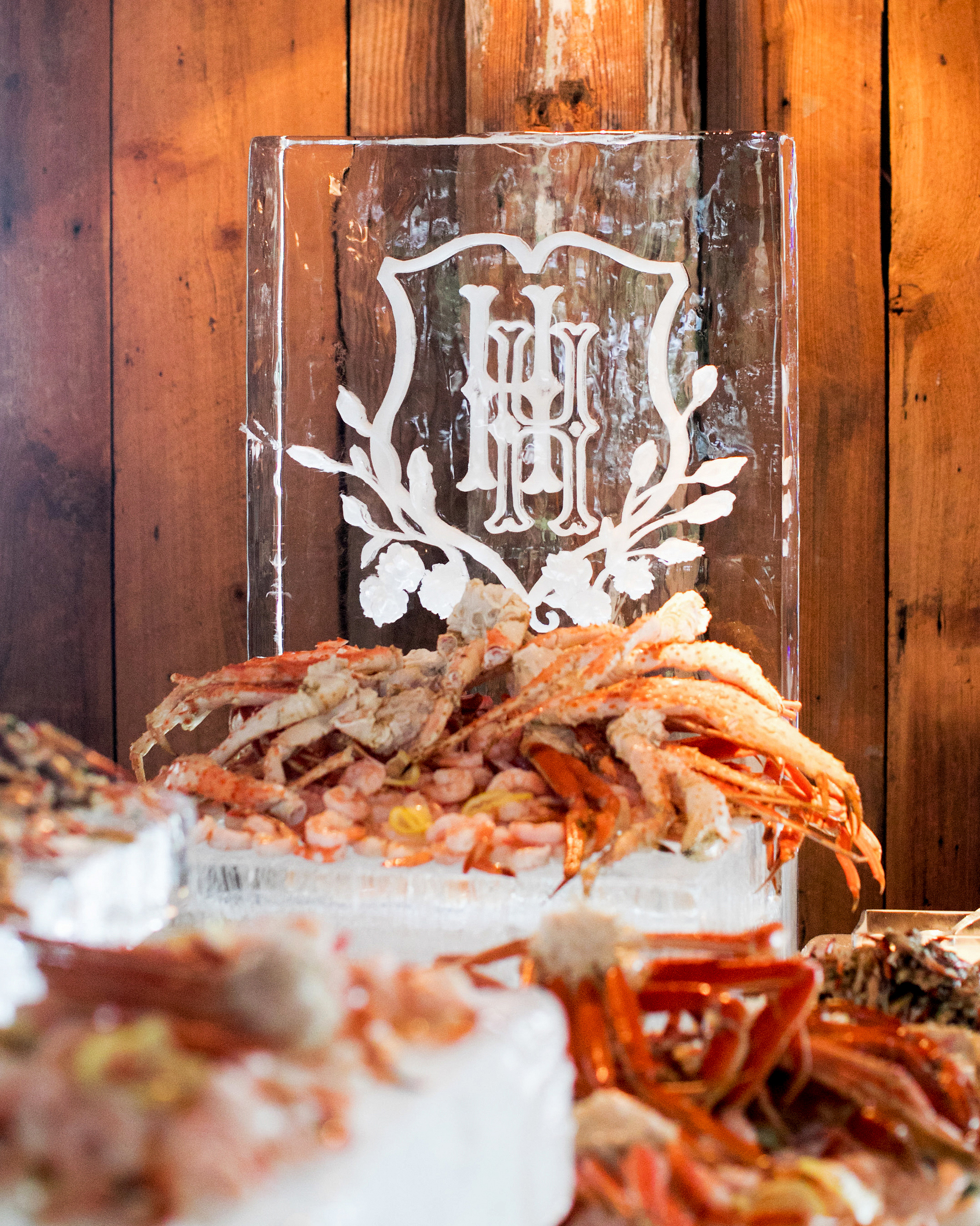 wedding ice sculpture monogrammed customized raw bar