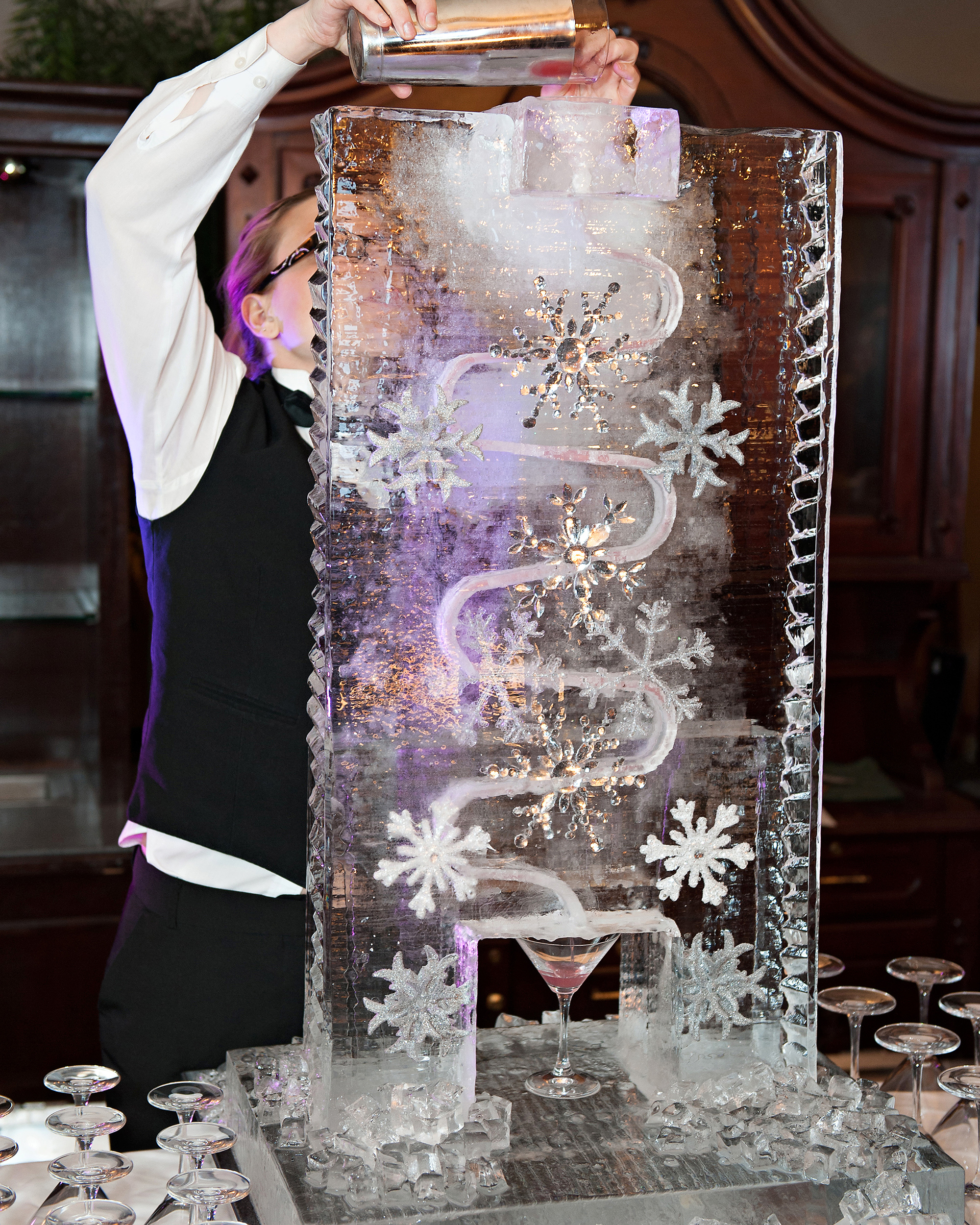 wedding ice sculpture frozen snowflakes drink dispenser