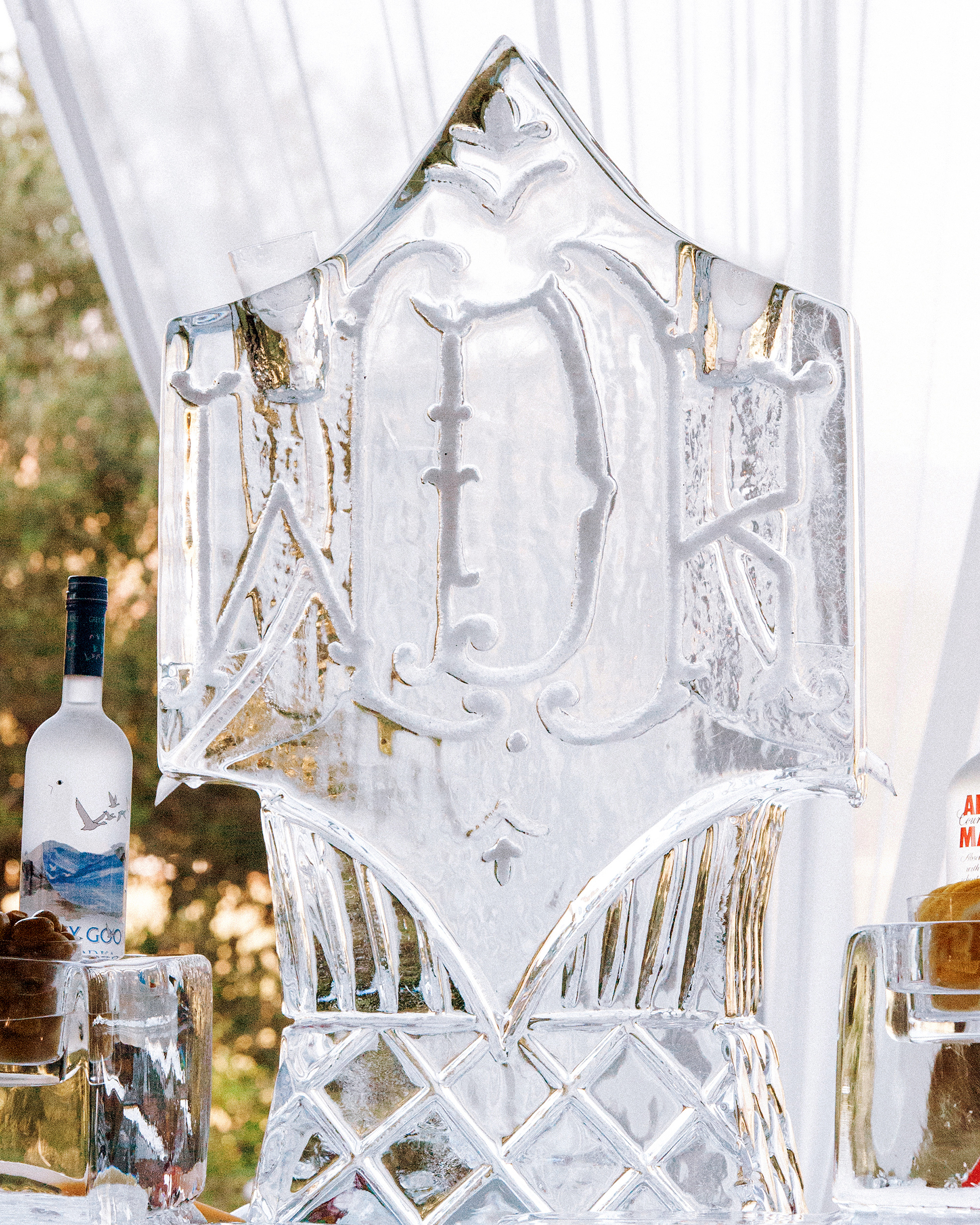 wedding ice sculpture monogrammed display