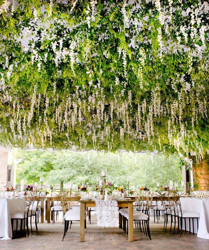 chicago botanic garden tables under greenery