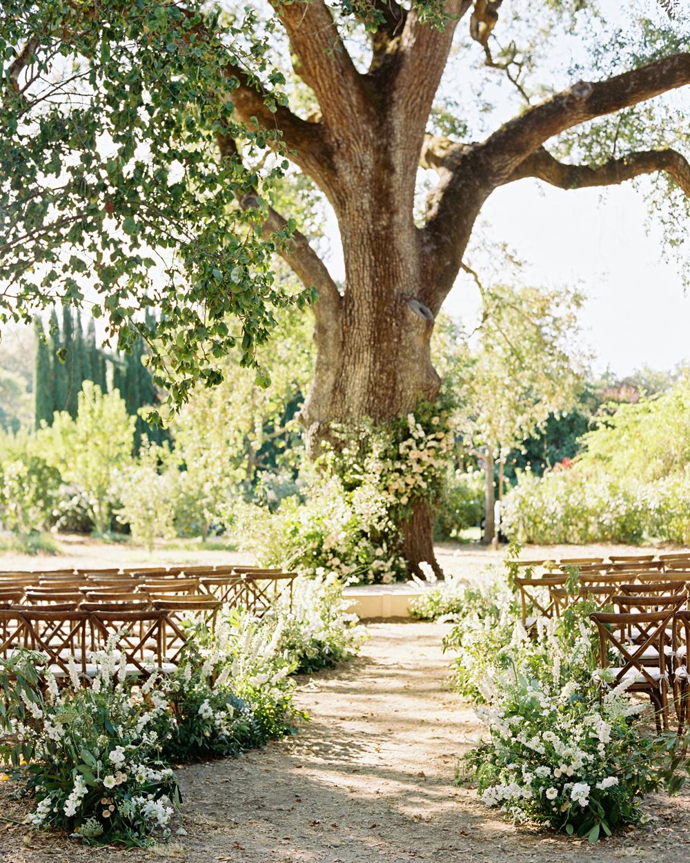 various greenery decor wedding ceremony