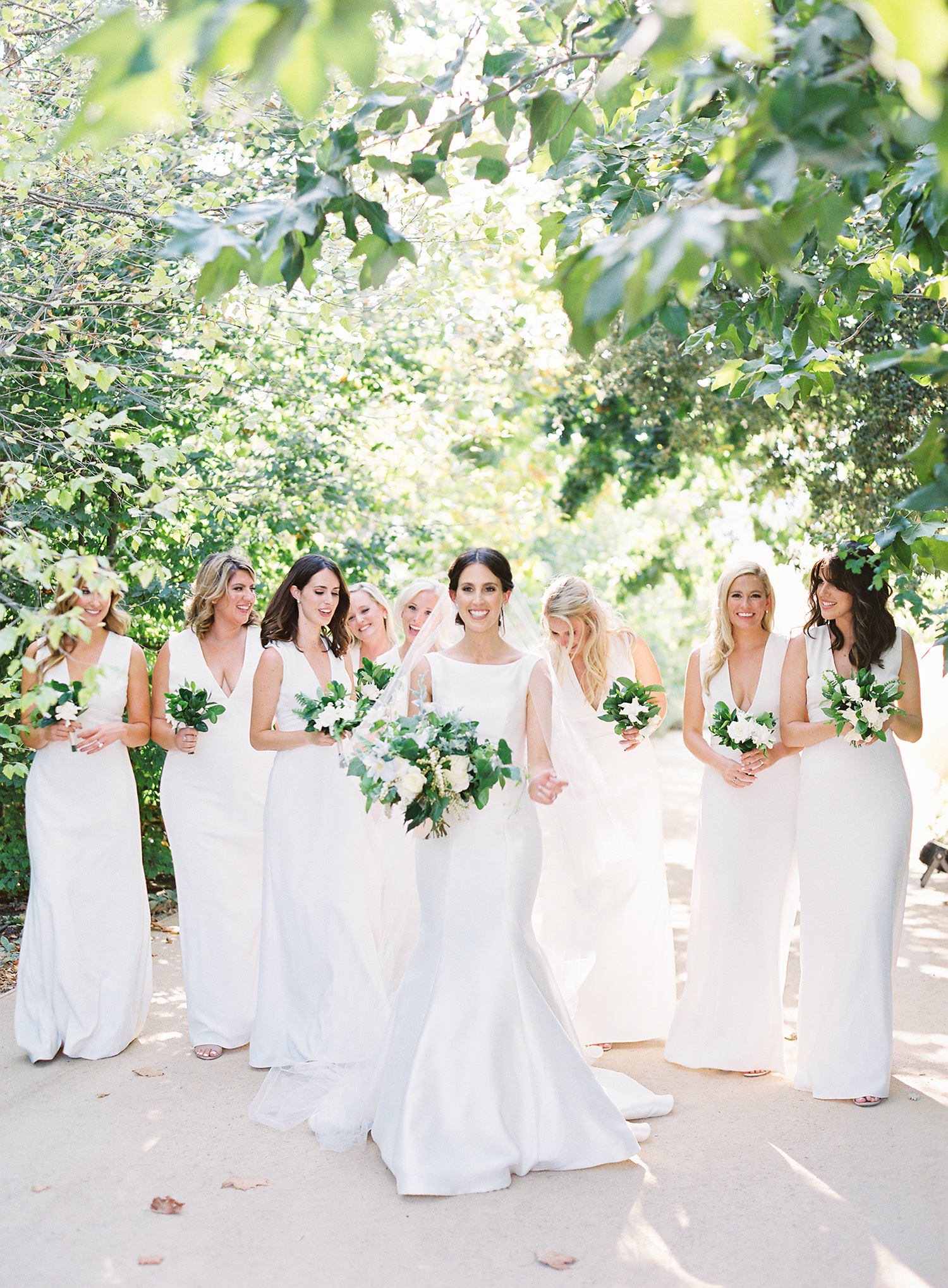 katie mike wedding bridesmaids in white