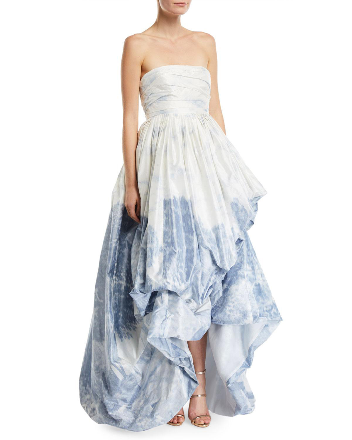 Oscar de la Renta Printed Strapless High-Low Gown