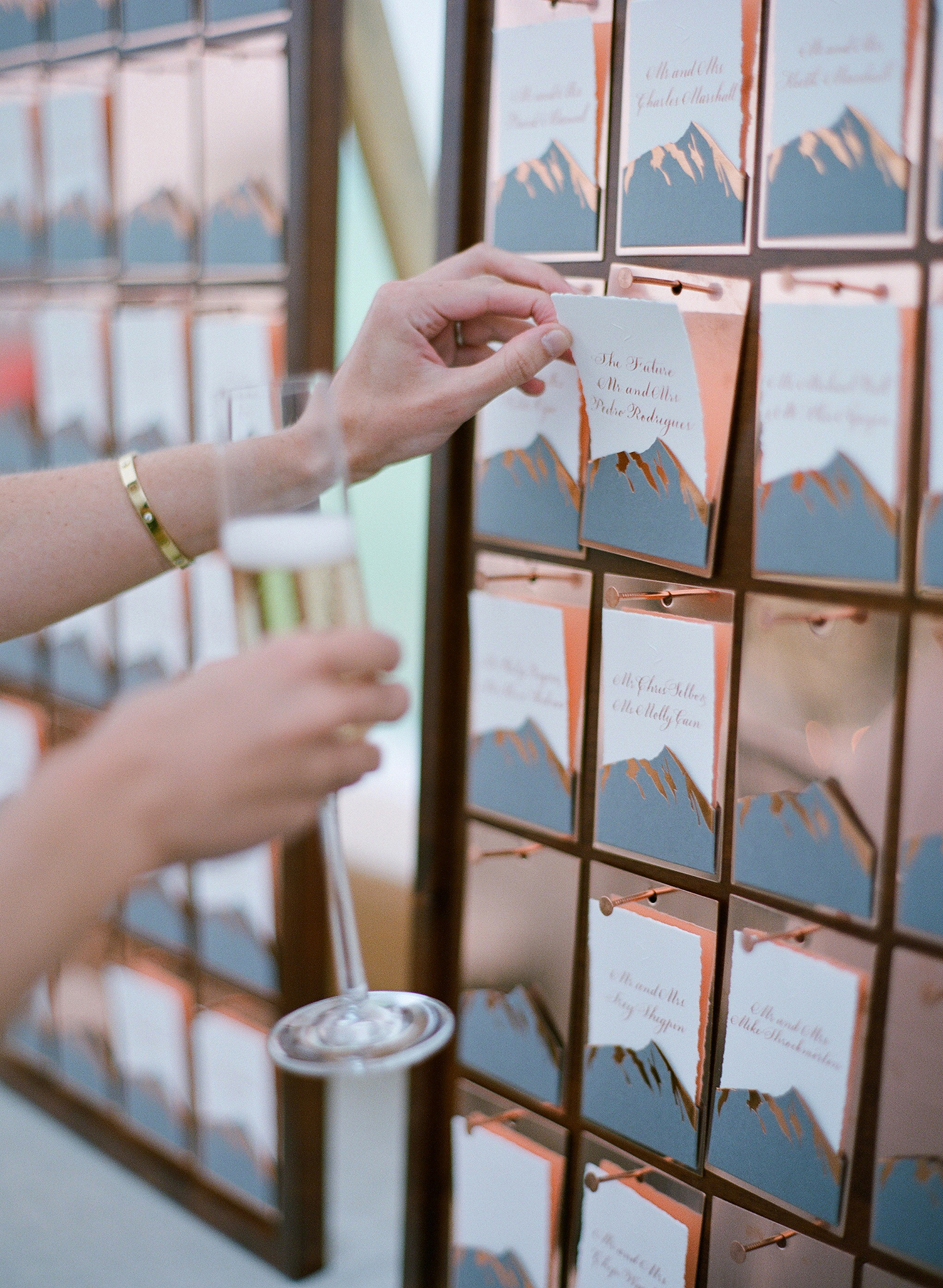 sloan scott wedding colorado themed escort cards