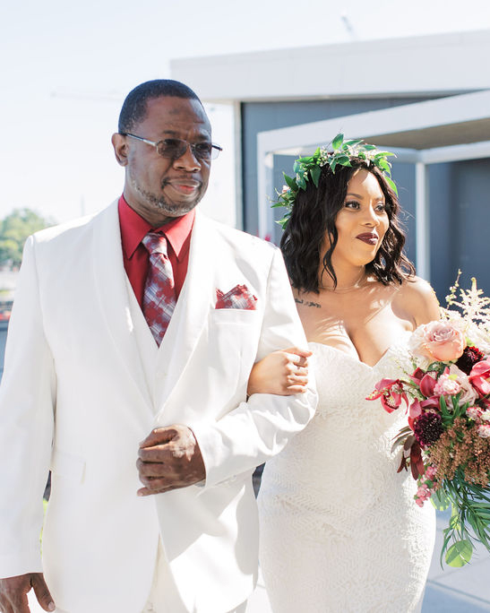 nishea and anthony bride with father ceremony processional