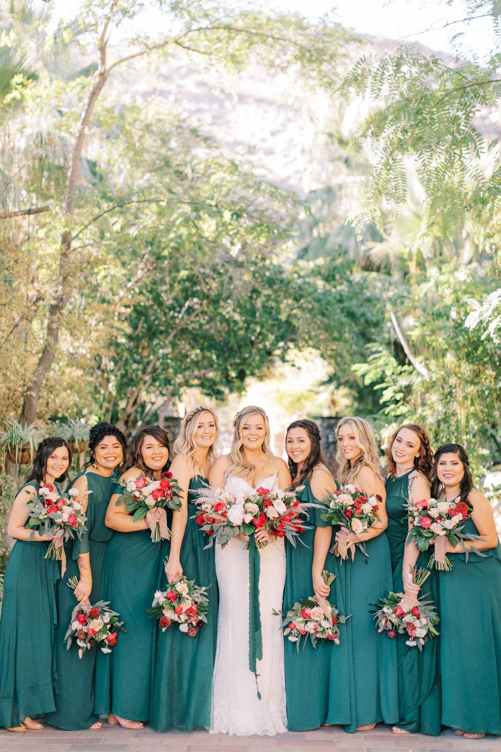 meagan robert wedding bridal party in green