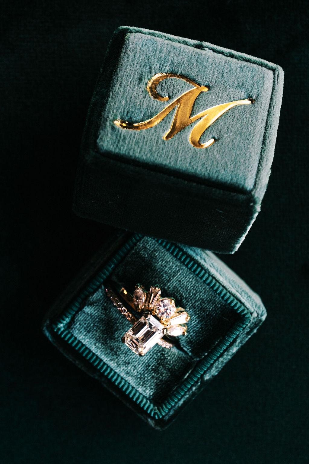 meagan robert wedding ring in green velvet box