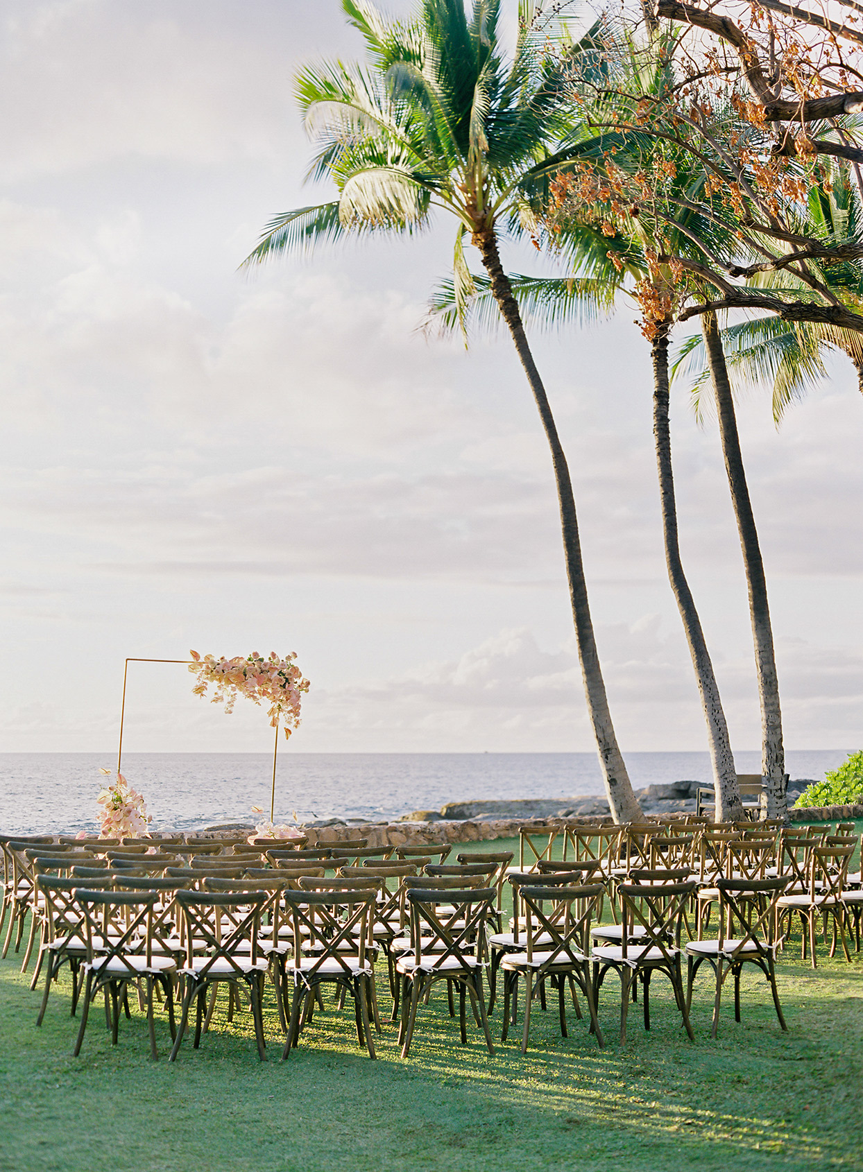 azuki sam wedding ceremony chairs set up by water