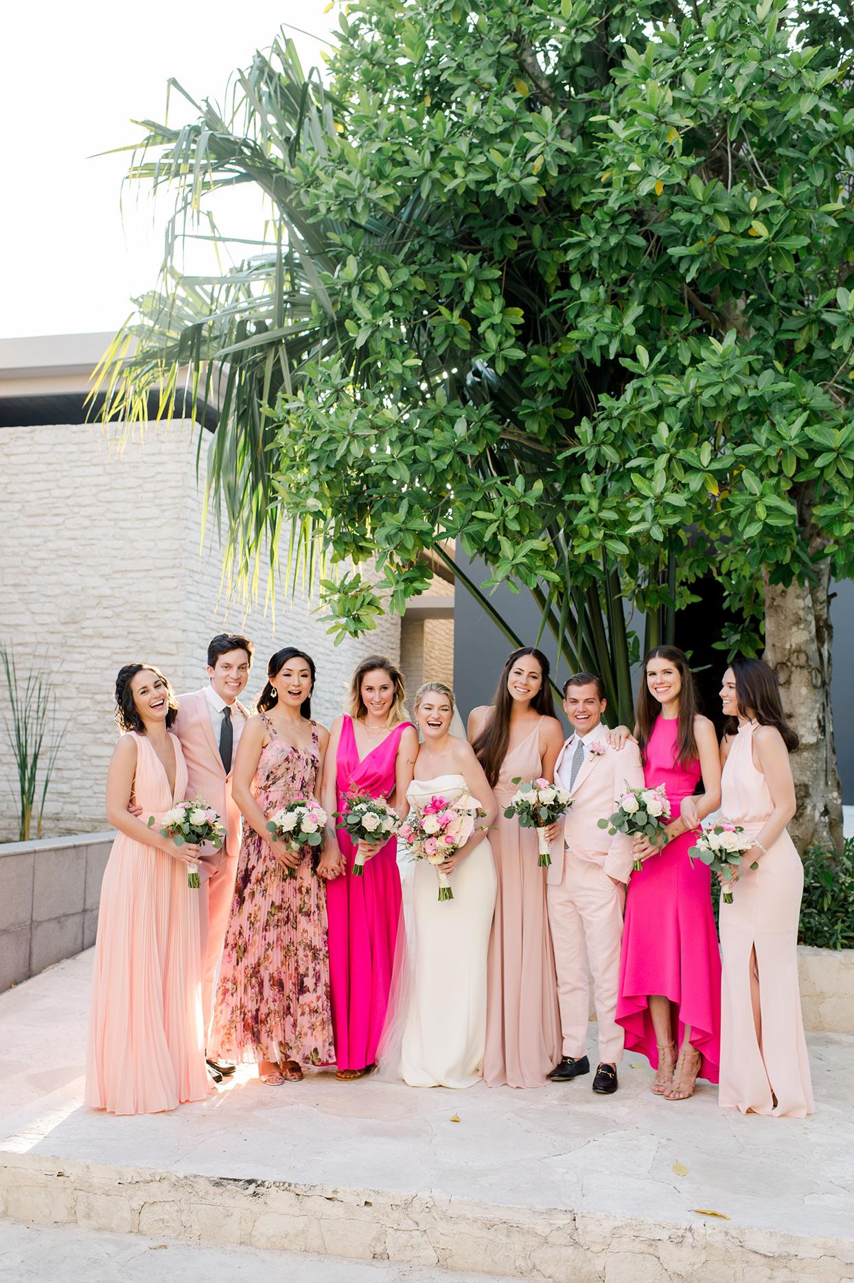 katie nick wedding bridesmaids in pink