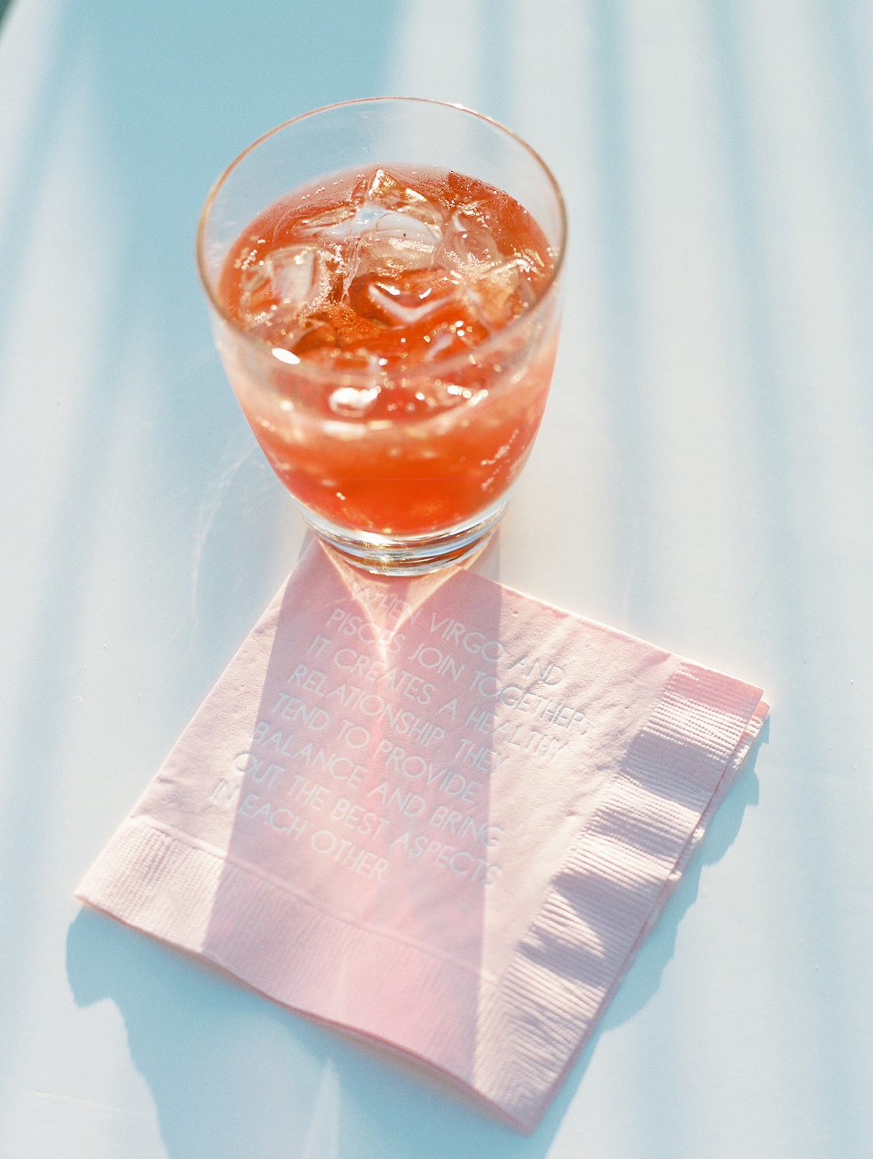 katie nick wedding cocktail glass and napkin