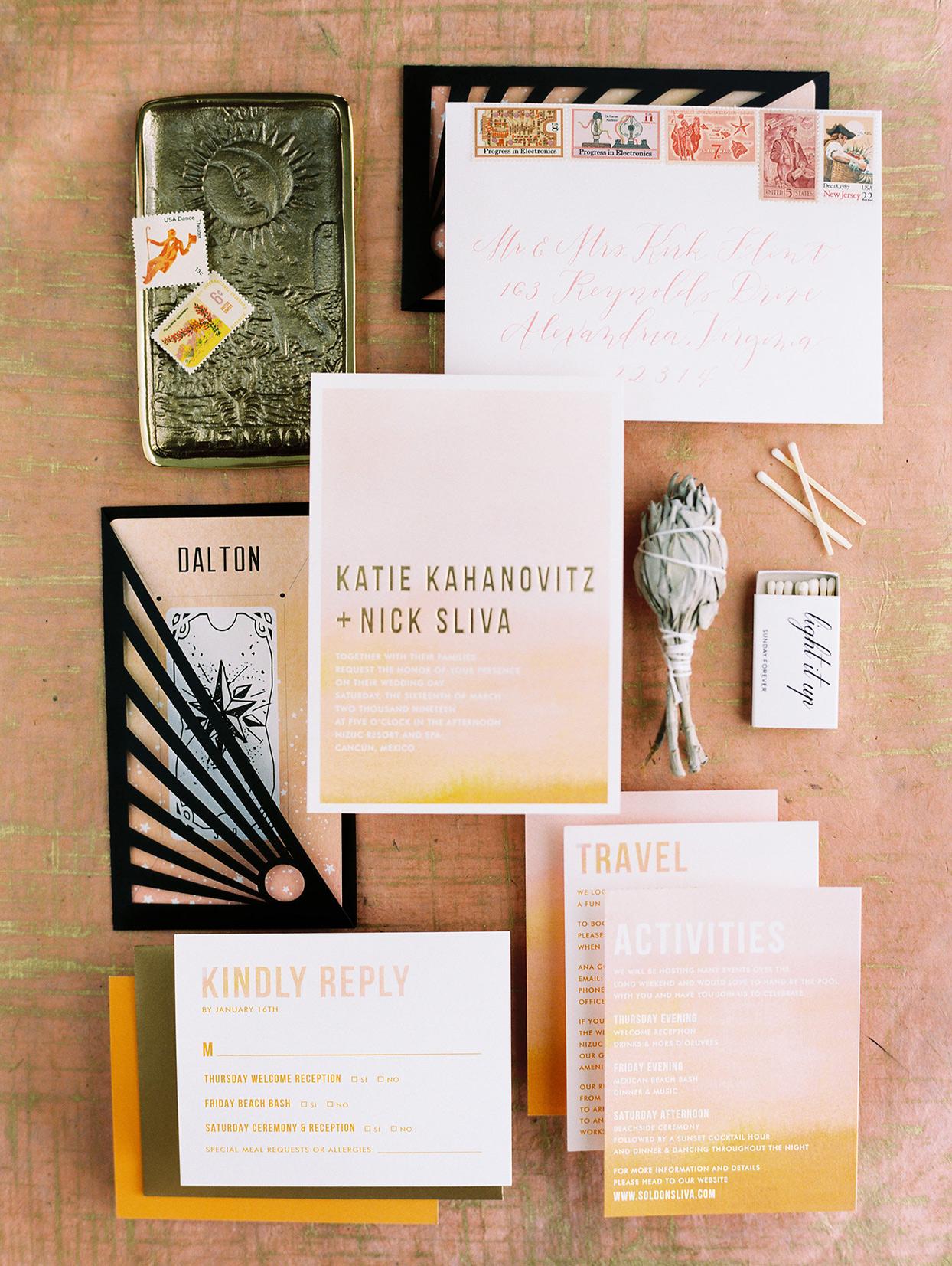 katie nick wedding invitations orange, pink and black