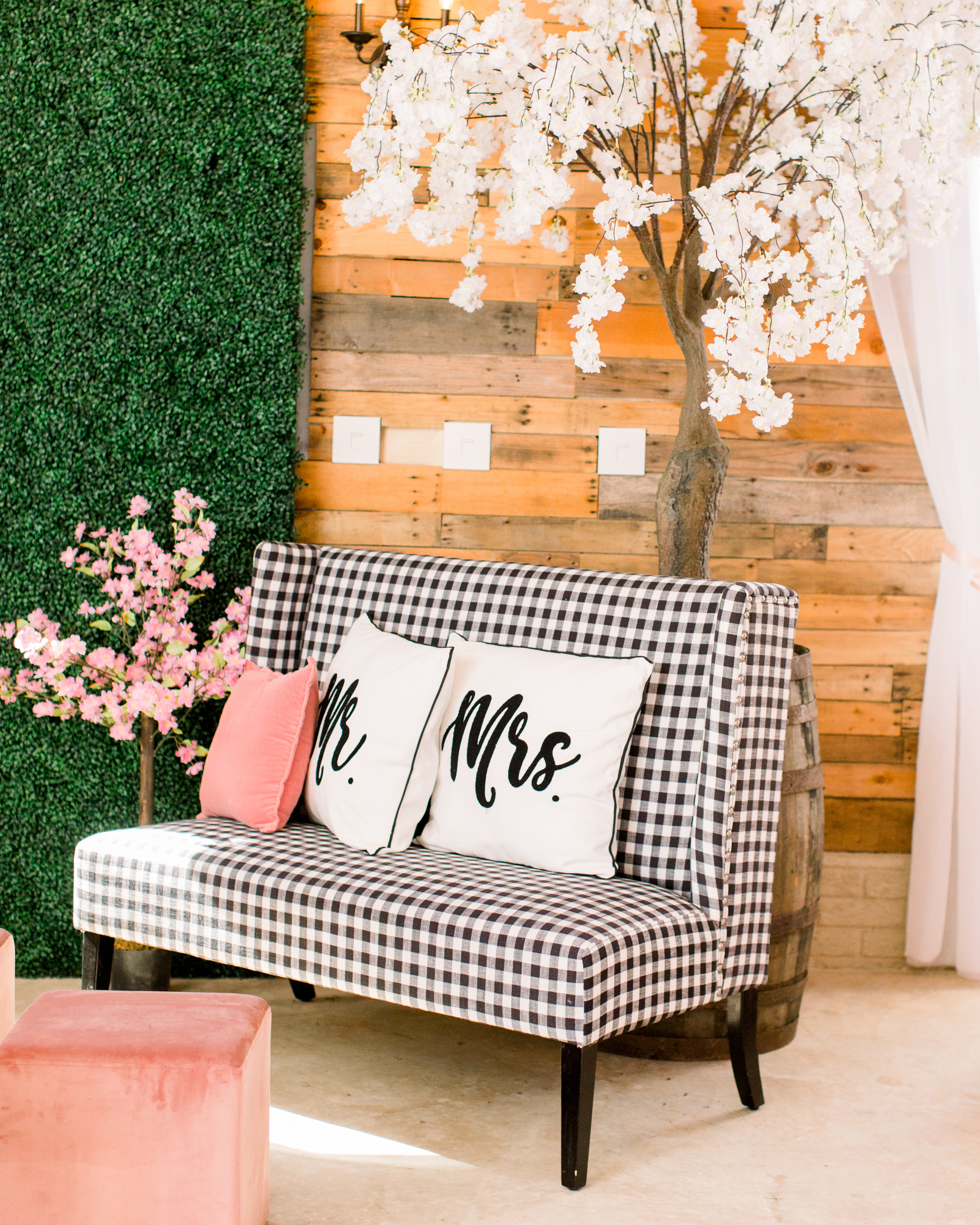 michelle nathan wedding lounge with gingham settee