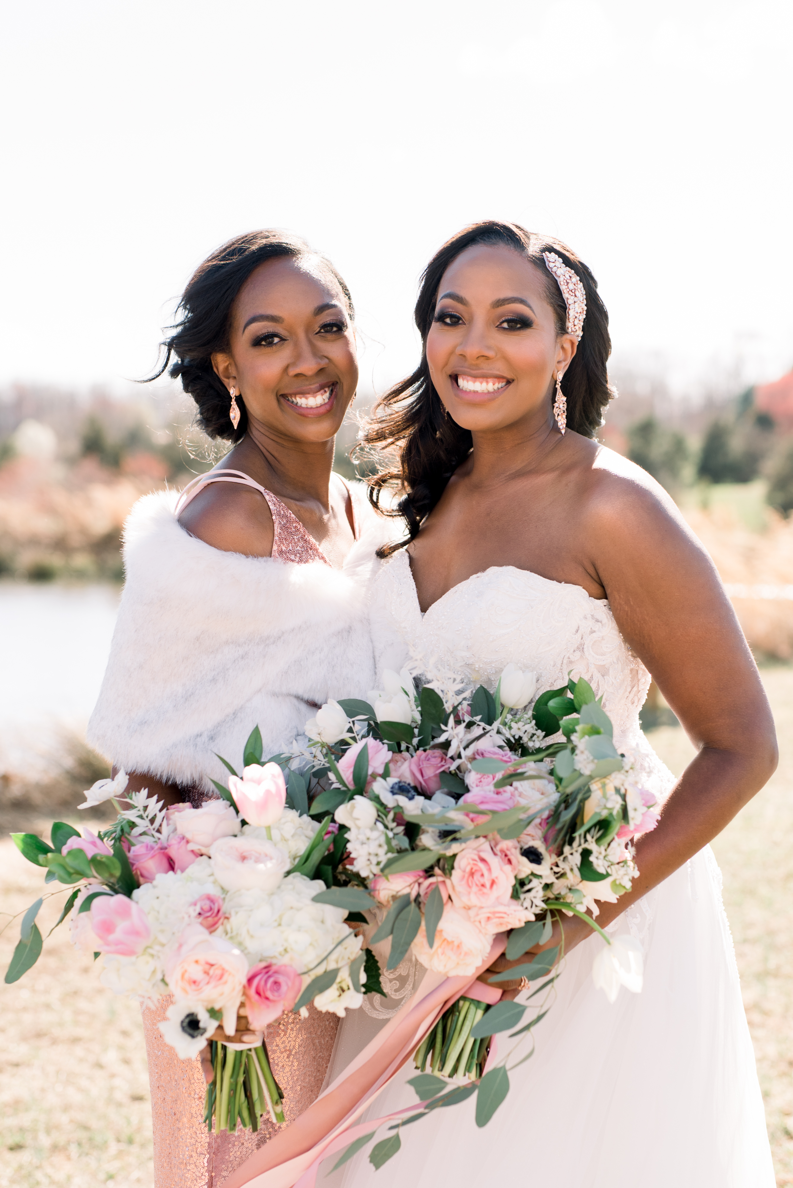 michelle nathan wedding bride and bridesmaid