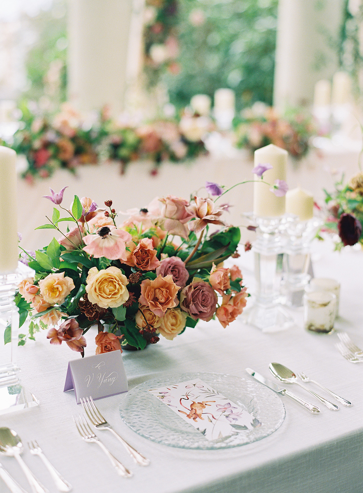 jackie ben wedding floral centerpiece and place setting