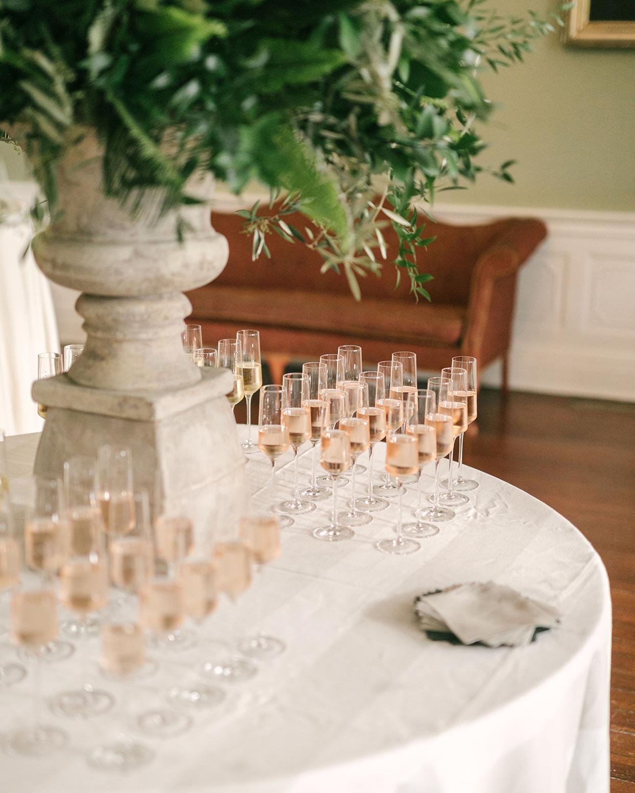 beverly steve wedding champagne on white table