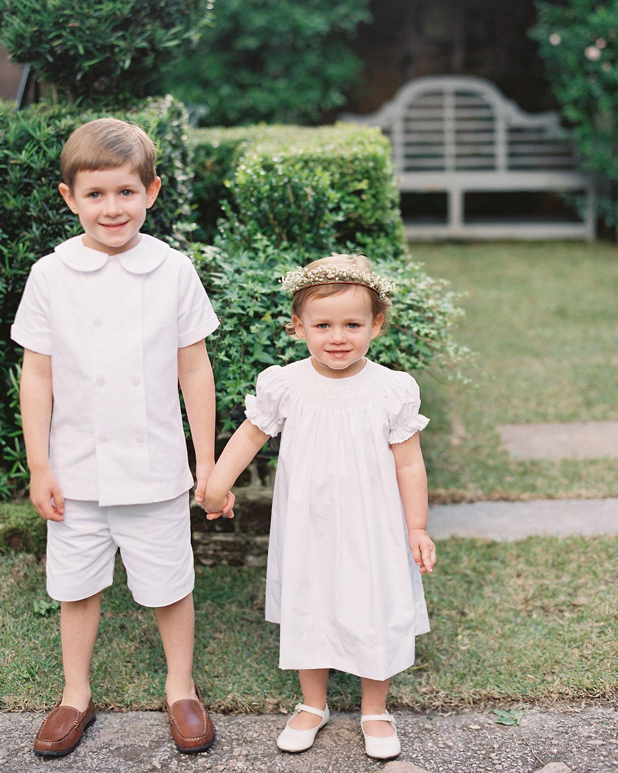 beverly steve wedding children dressed in white