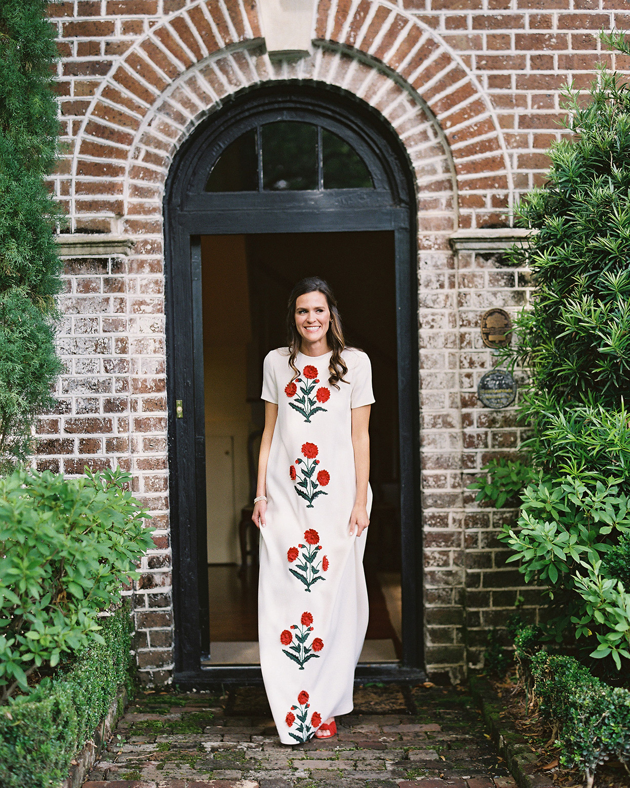 beverly steve bride's wedding dress white with red flowers
