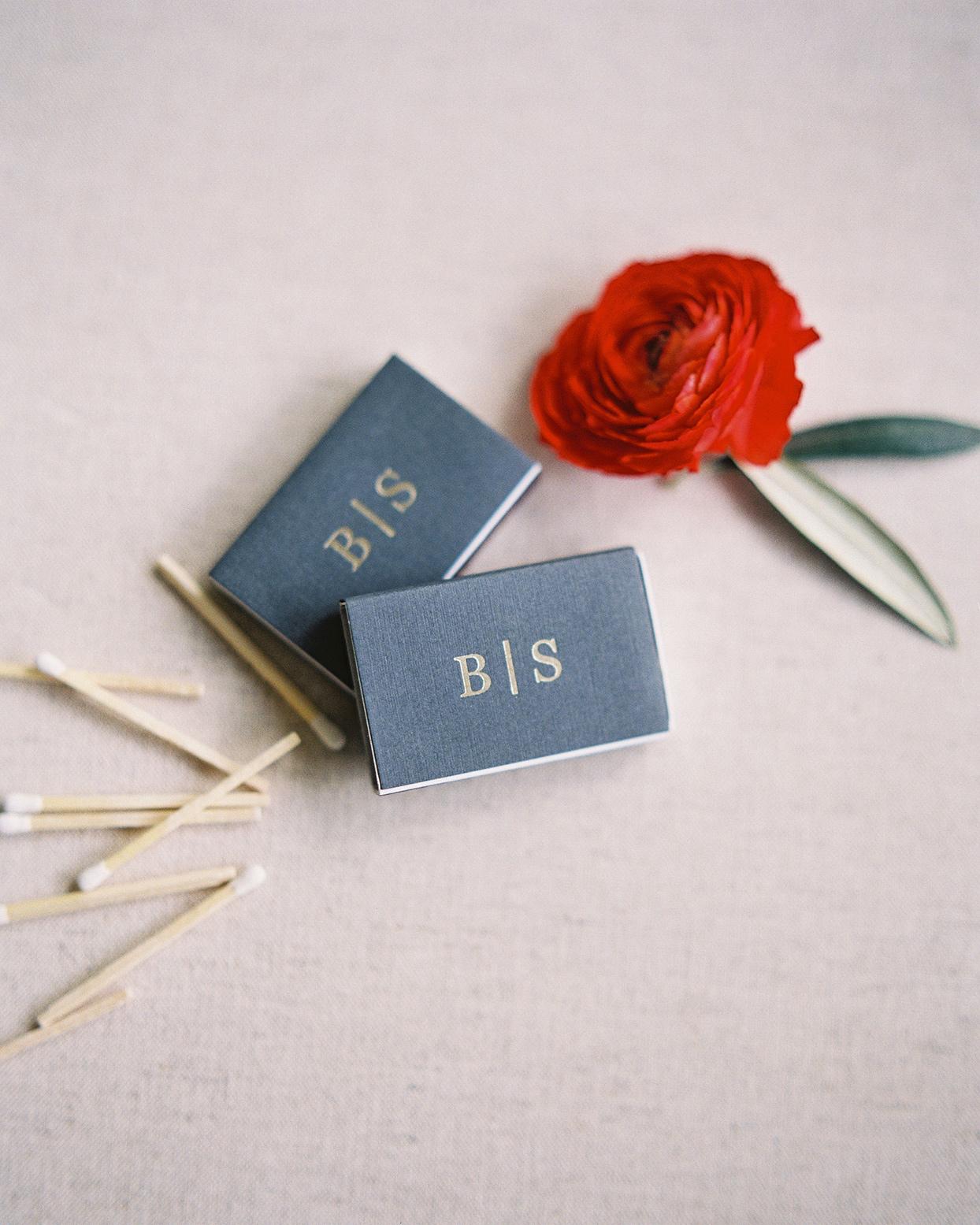 beverly steve wedding monogrammed matchbooks