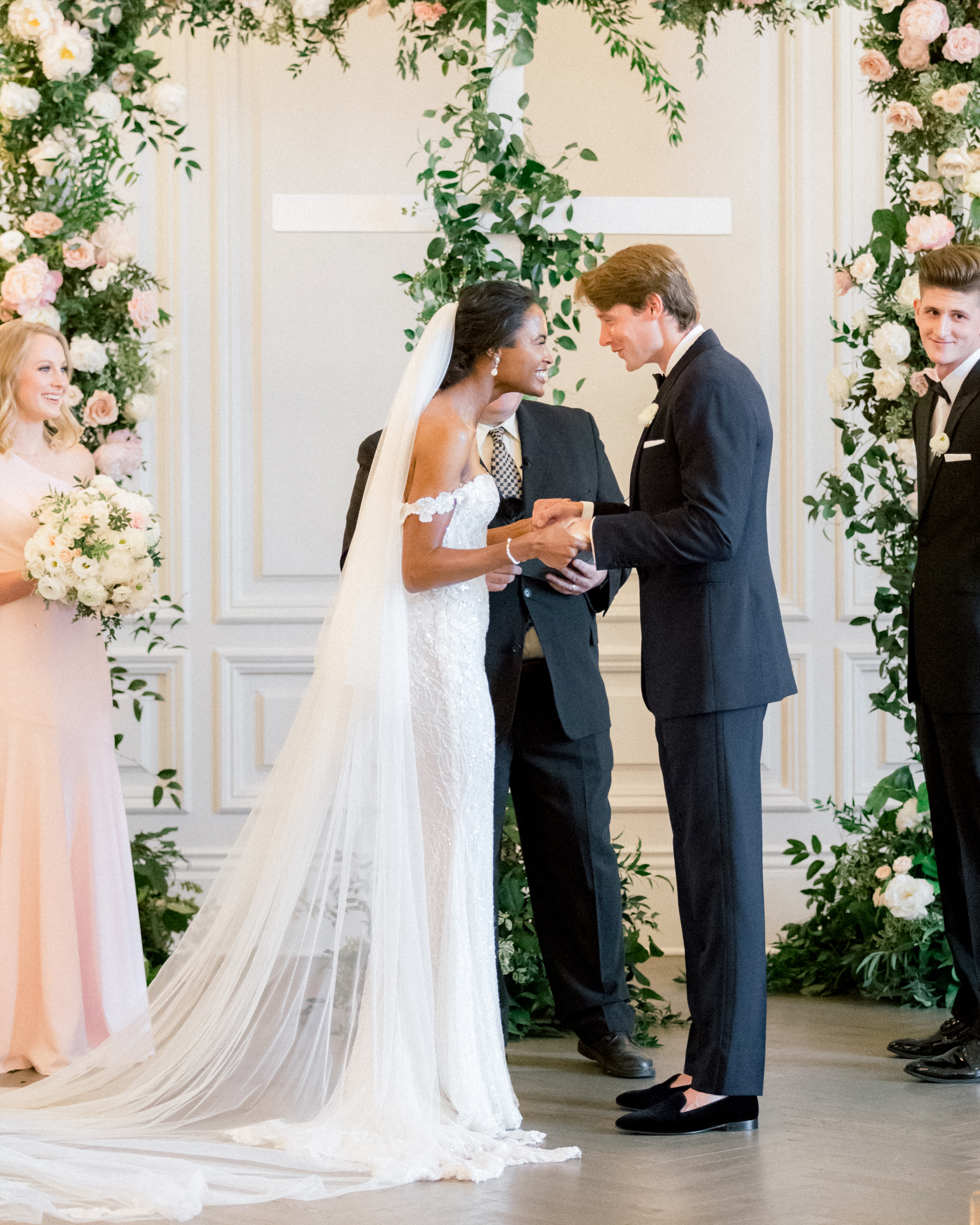 olivia collin wedding couple during ceremony exchanging vows