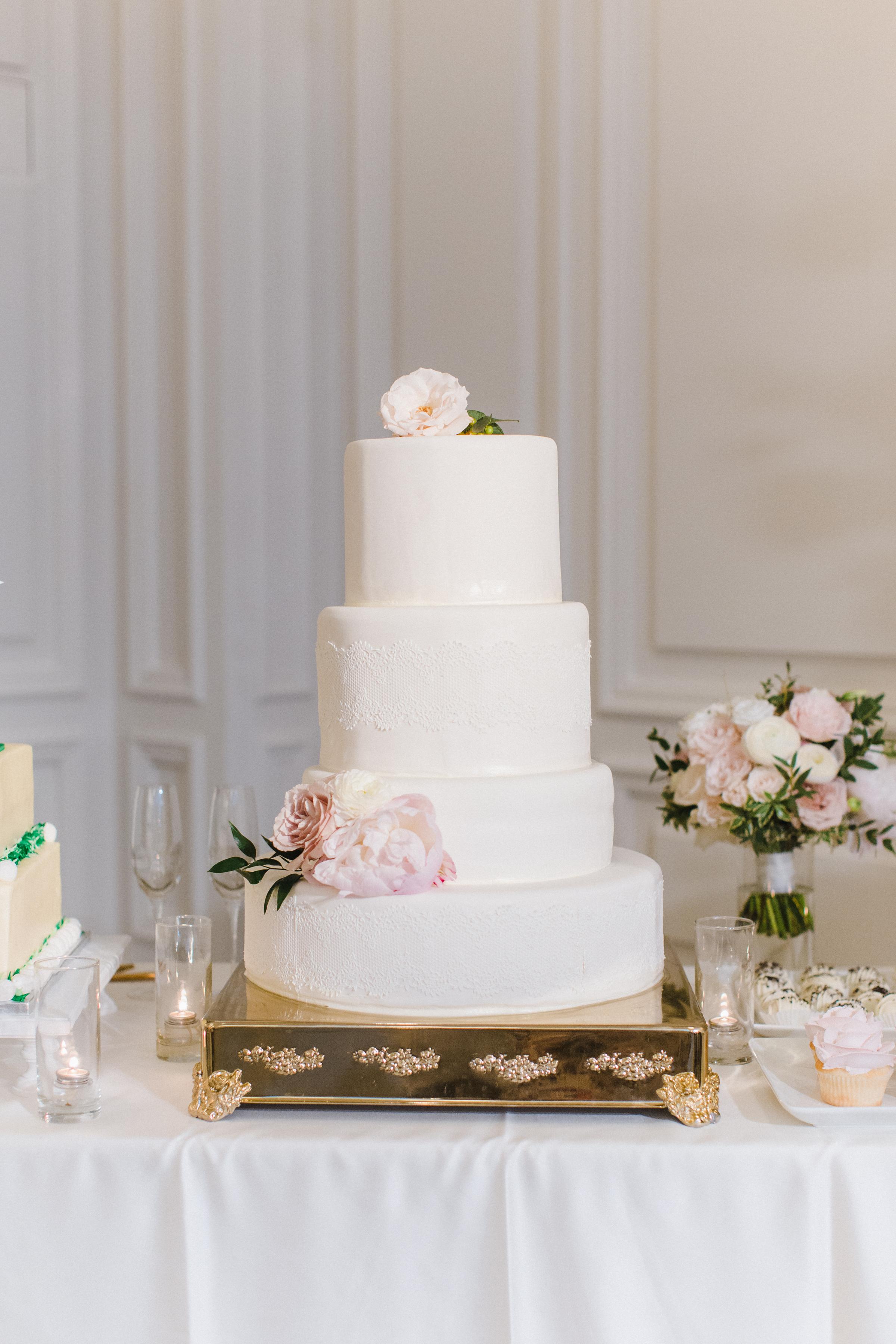 Magical Blush Hued Disney Fairy Tale Wedding Wedding Cake