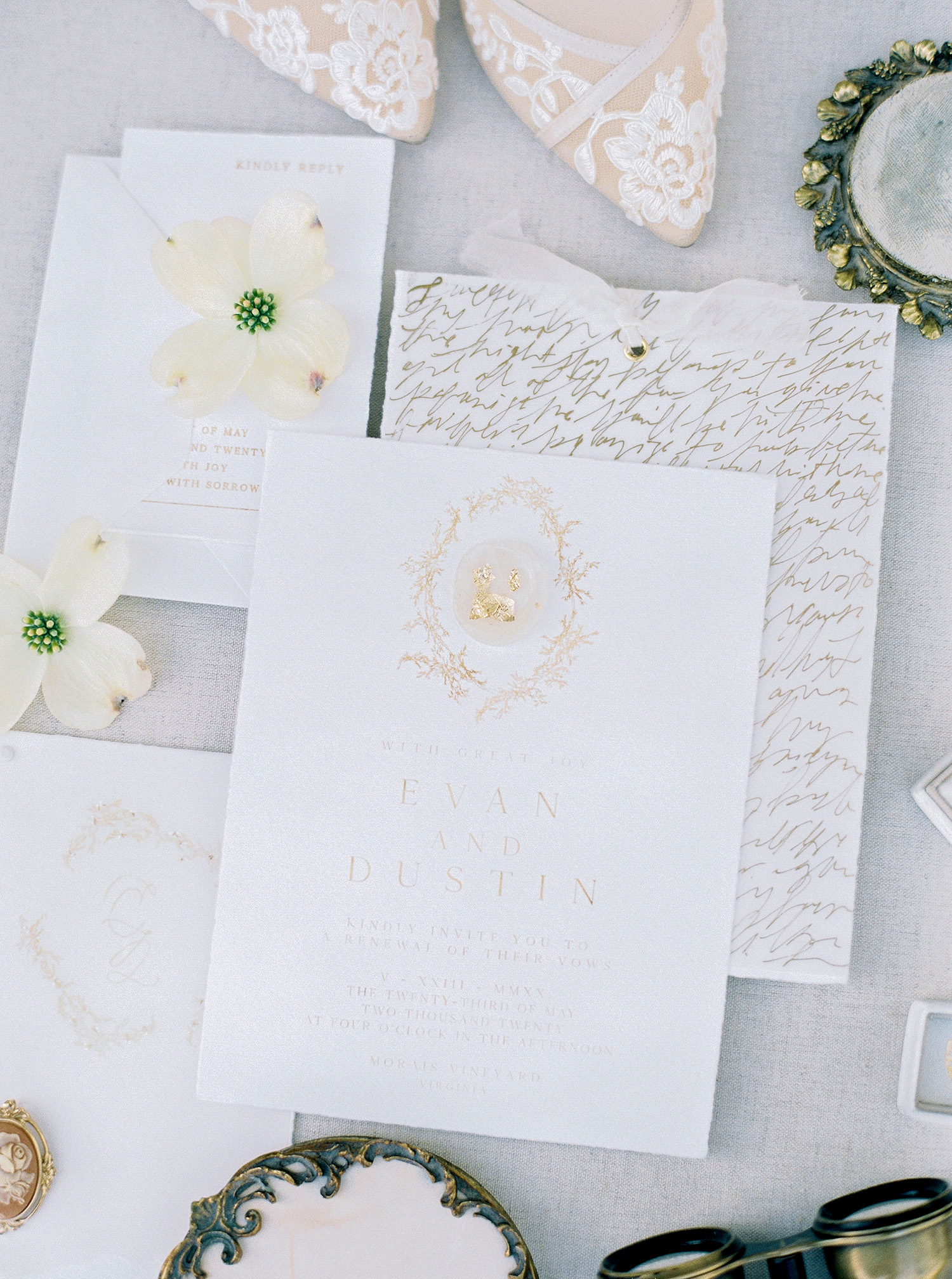 evan dustin vow renewal stationery invites