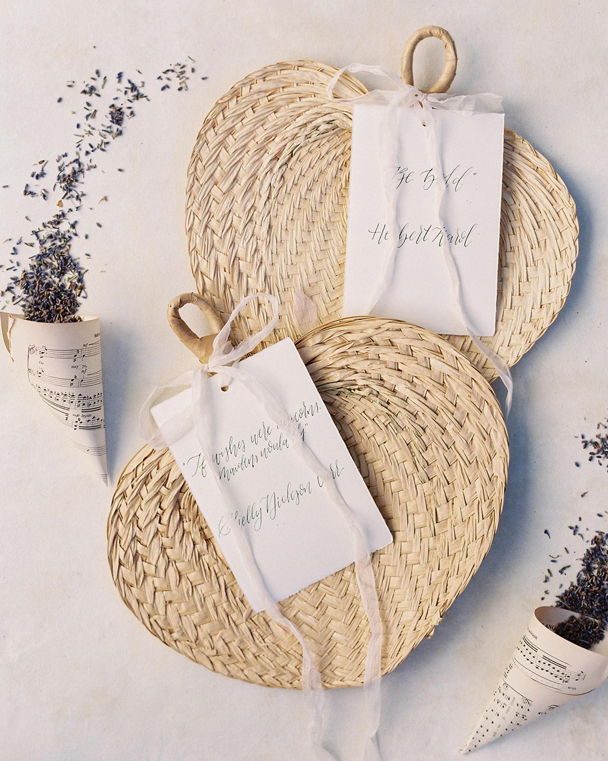 chelsea john wedding ceremony wooden fans