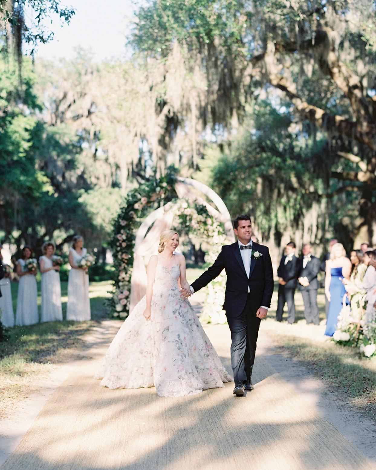 chelsea john wedding ceremony recessional bride and groom