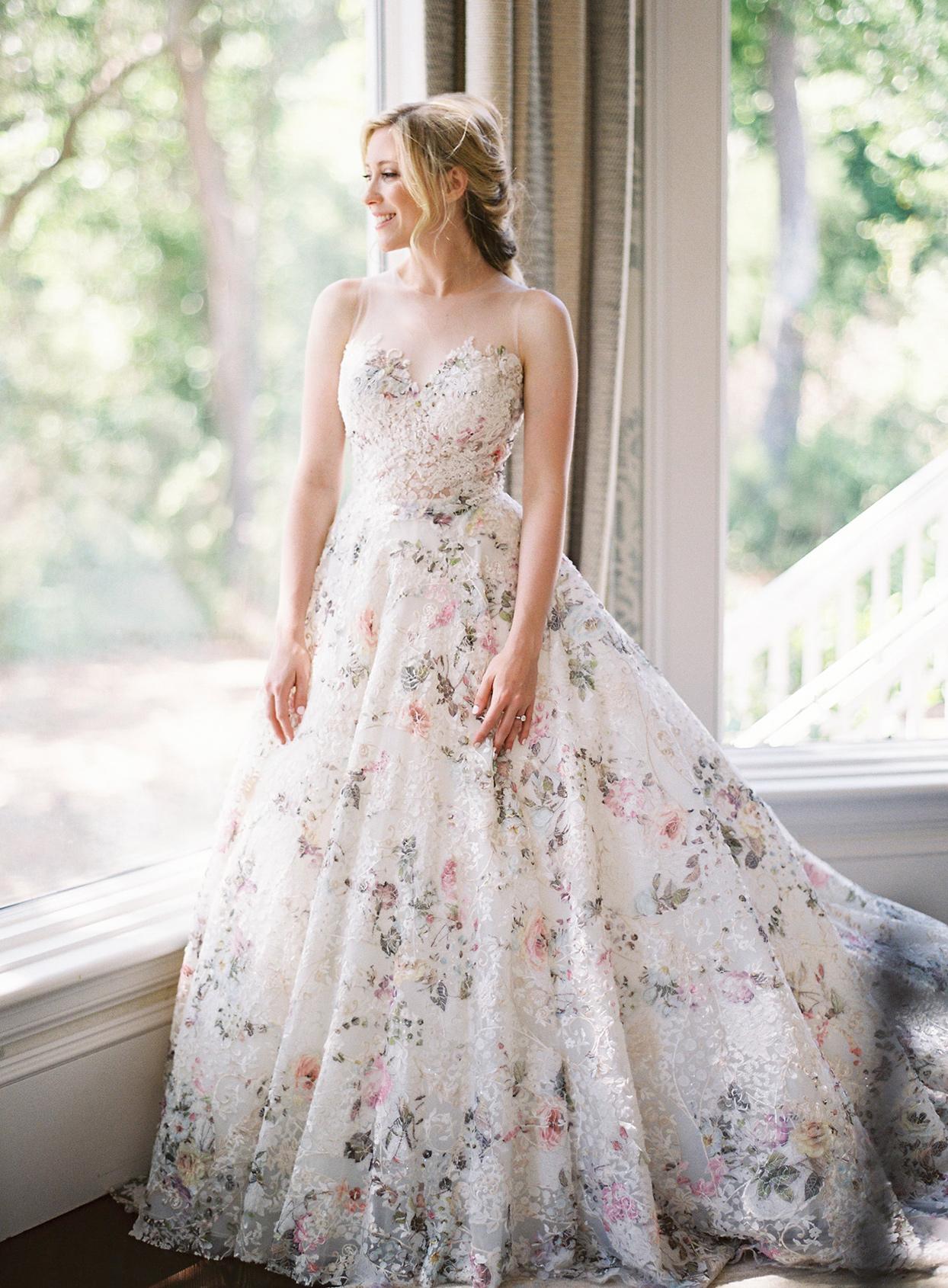 chelsea john wedding dress floral overlay