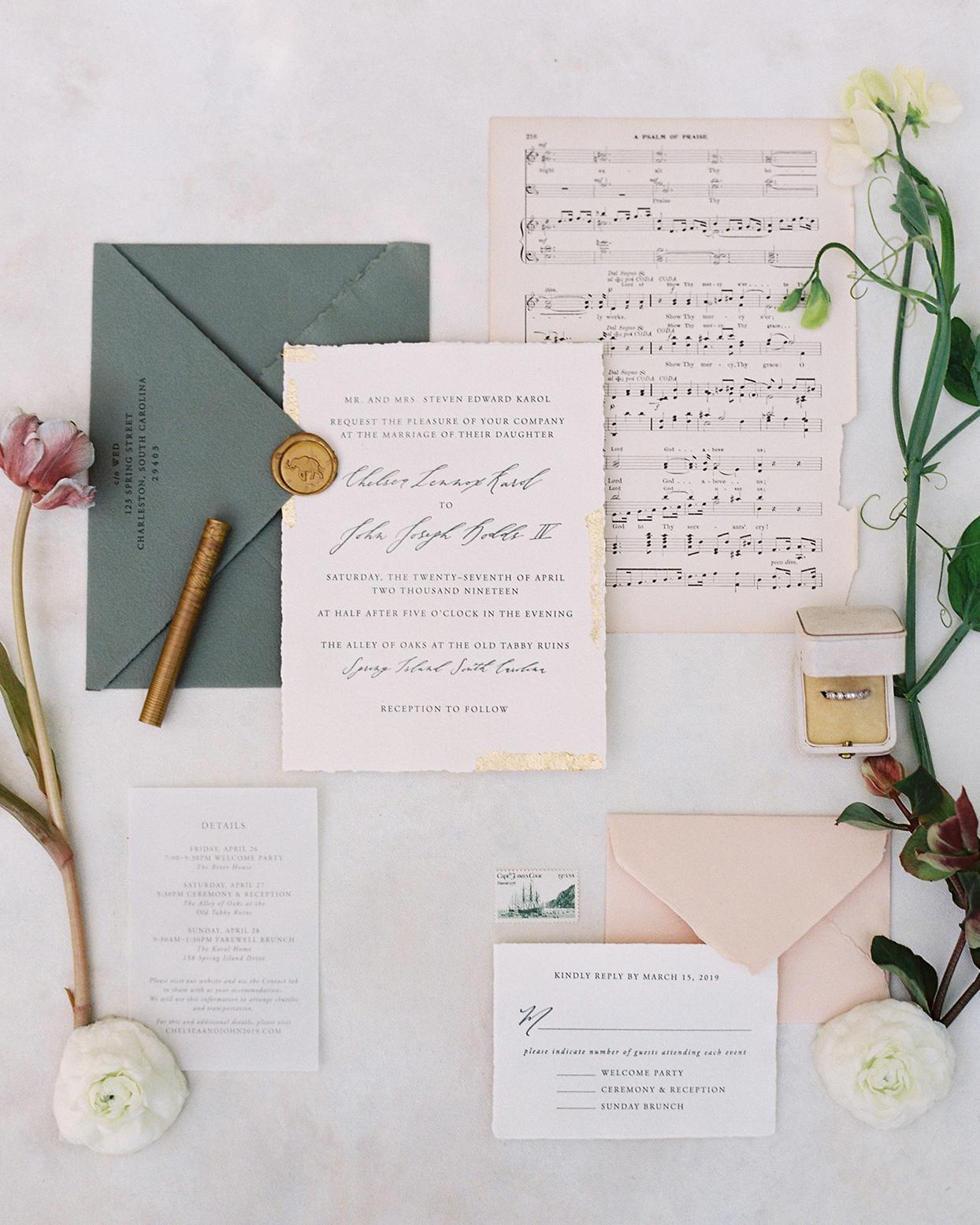 chelsea john wedding invites and sheet music