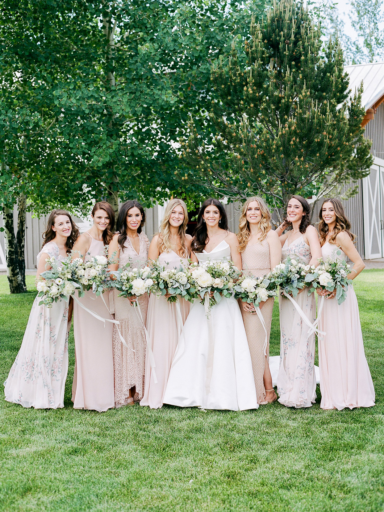 jessica aaron wedding bridesmaids in pastel pink