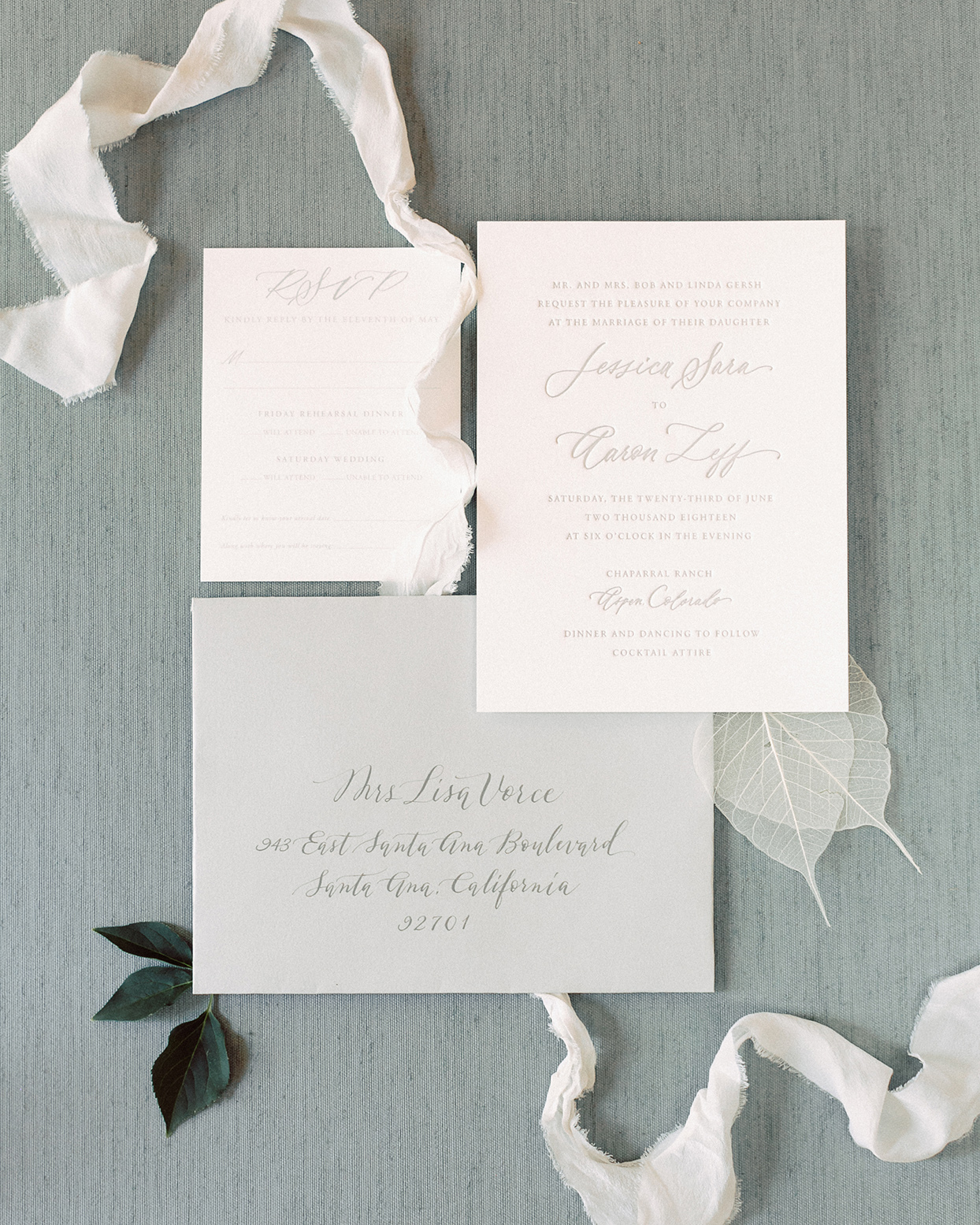 jessica aaron white wedding invitations