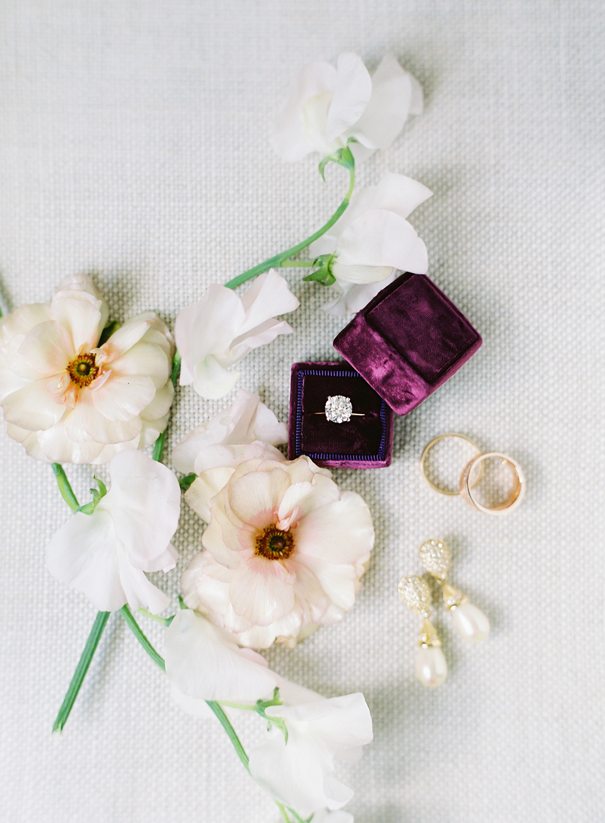 paula terence wedding ring in purple box with flowers