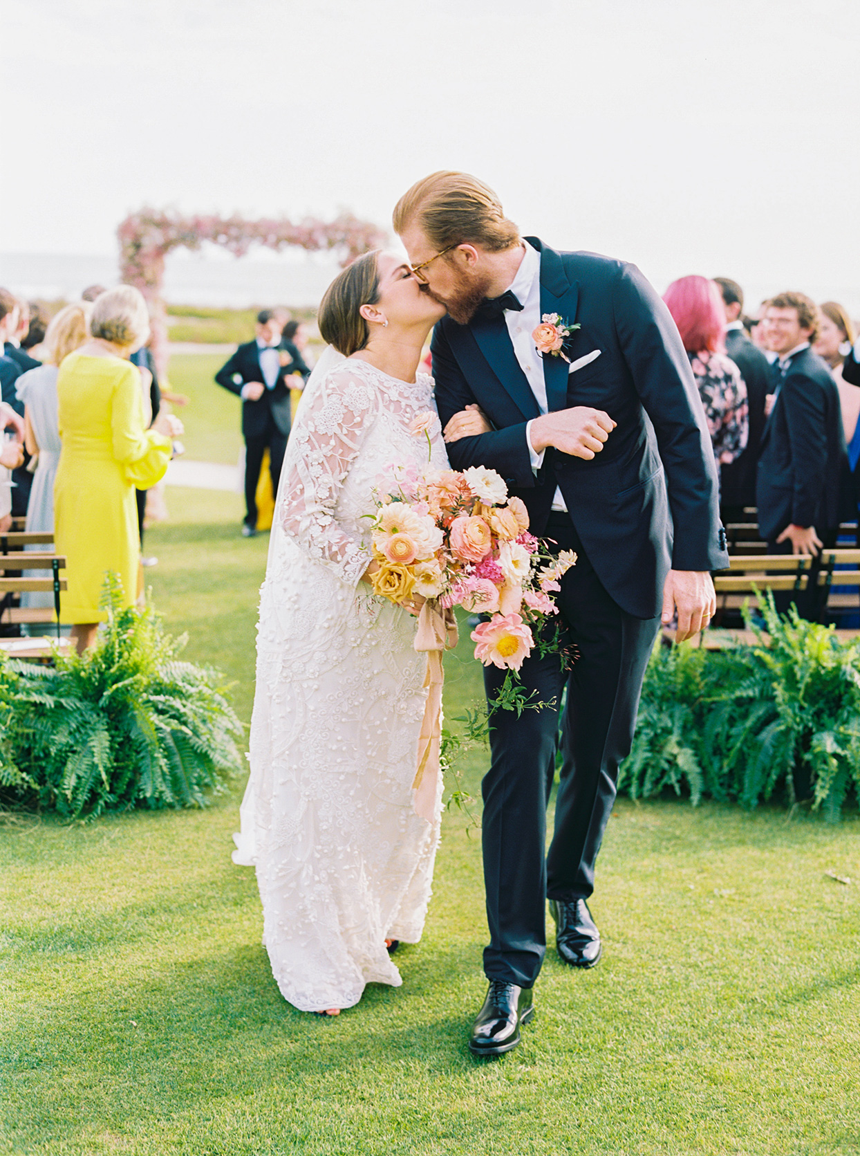 lauren dan wedding ceremony recessional kiss