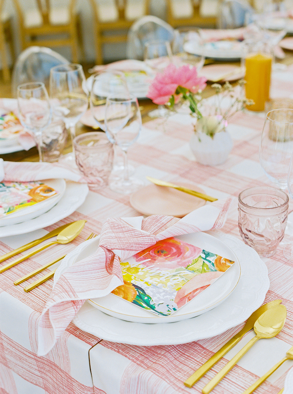lauren dan wedding colorful place setting with floral place card
