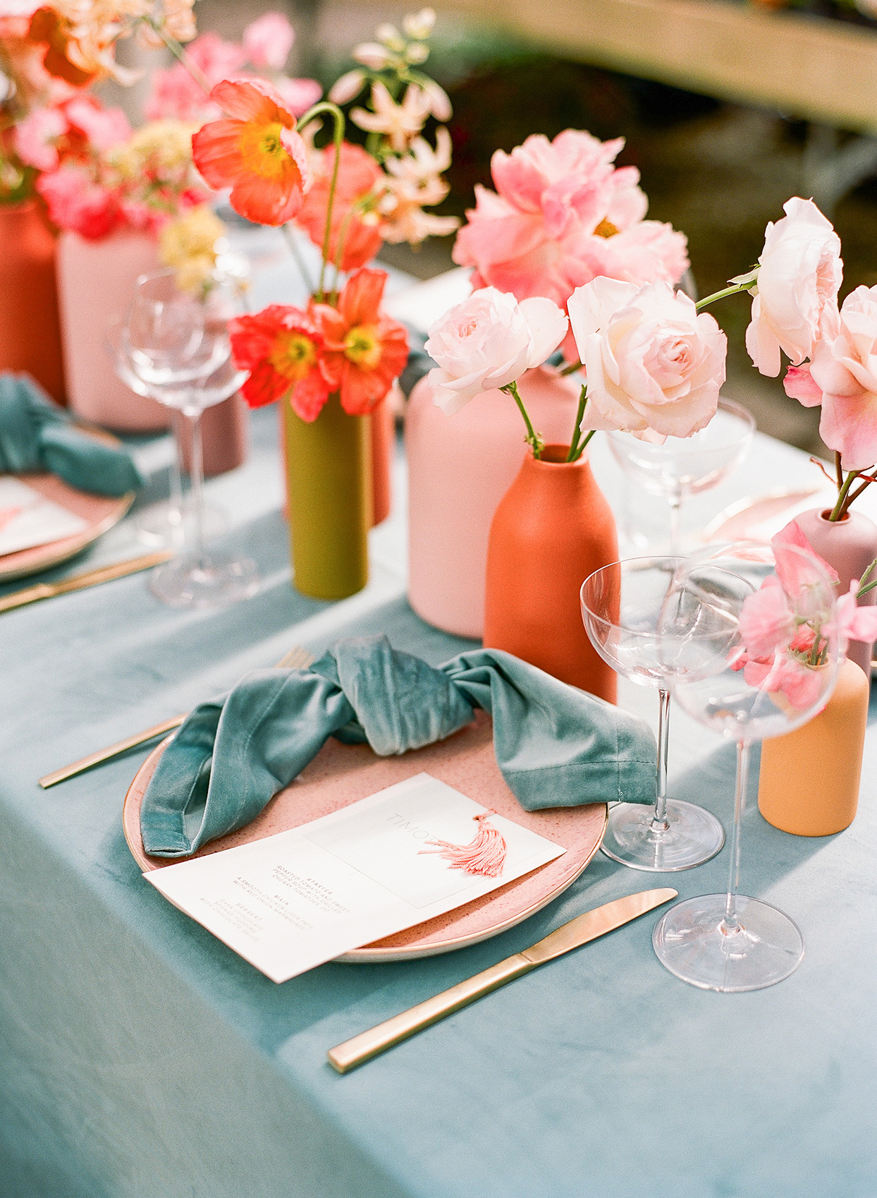 sea foam and coral wedding brunch place setting