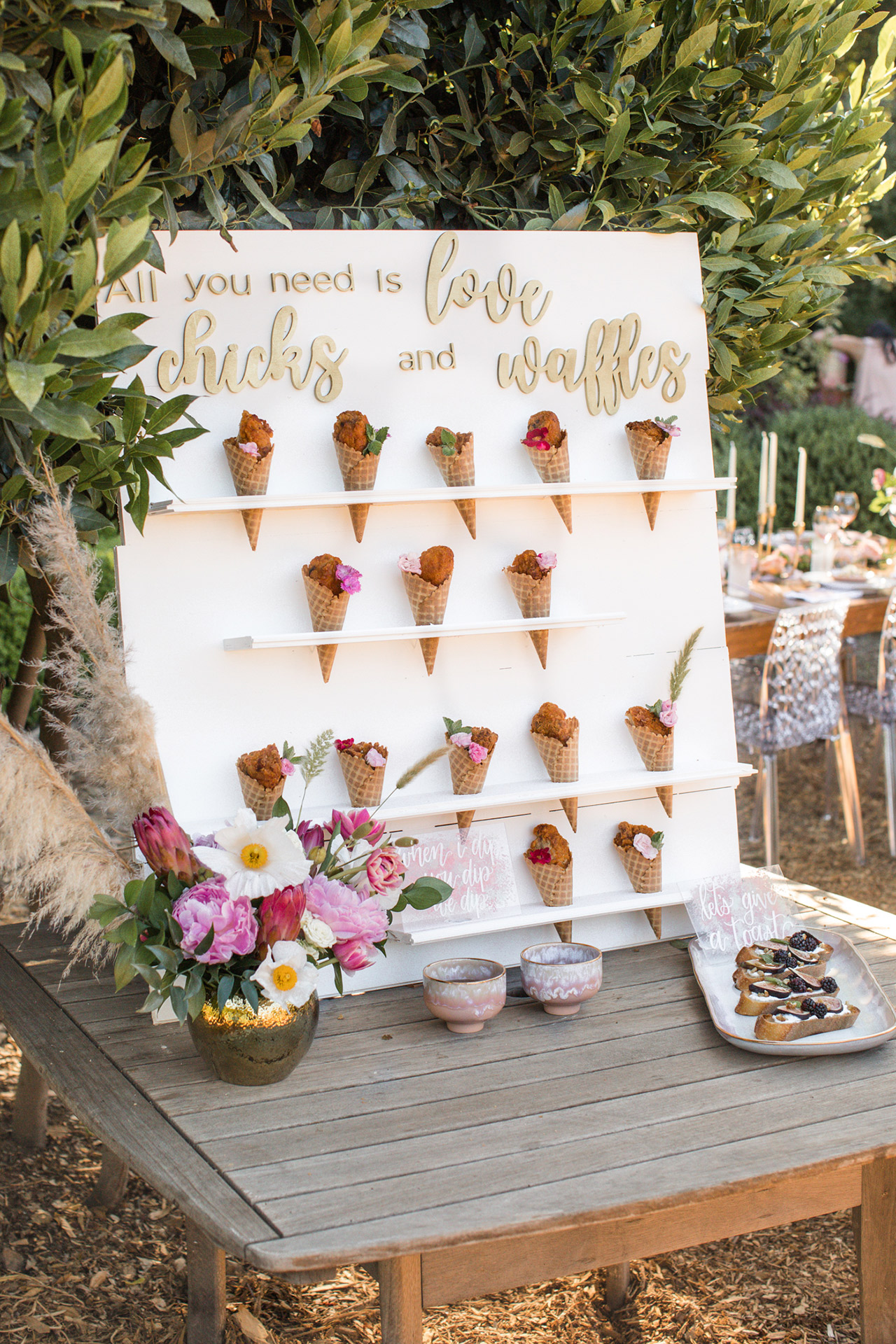 summer bridal shower ideas floral chicken cones
