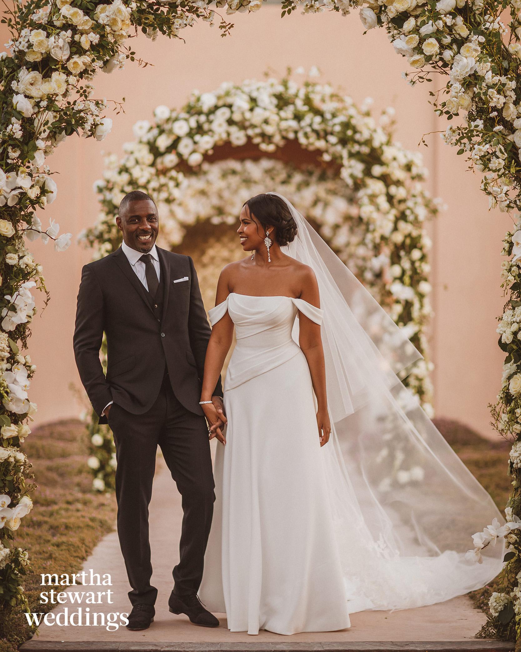 idris and sabrina elba on wedding day