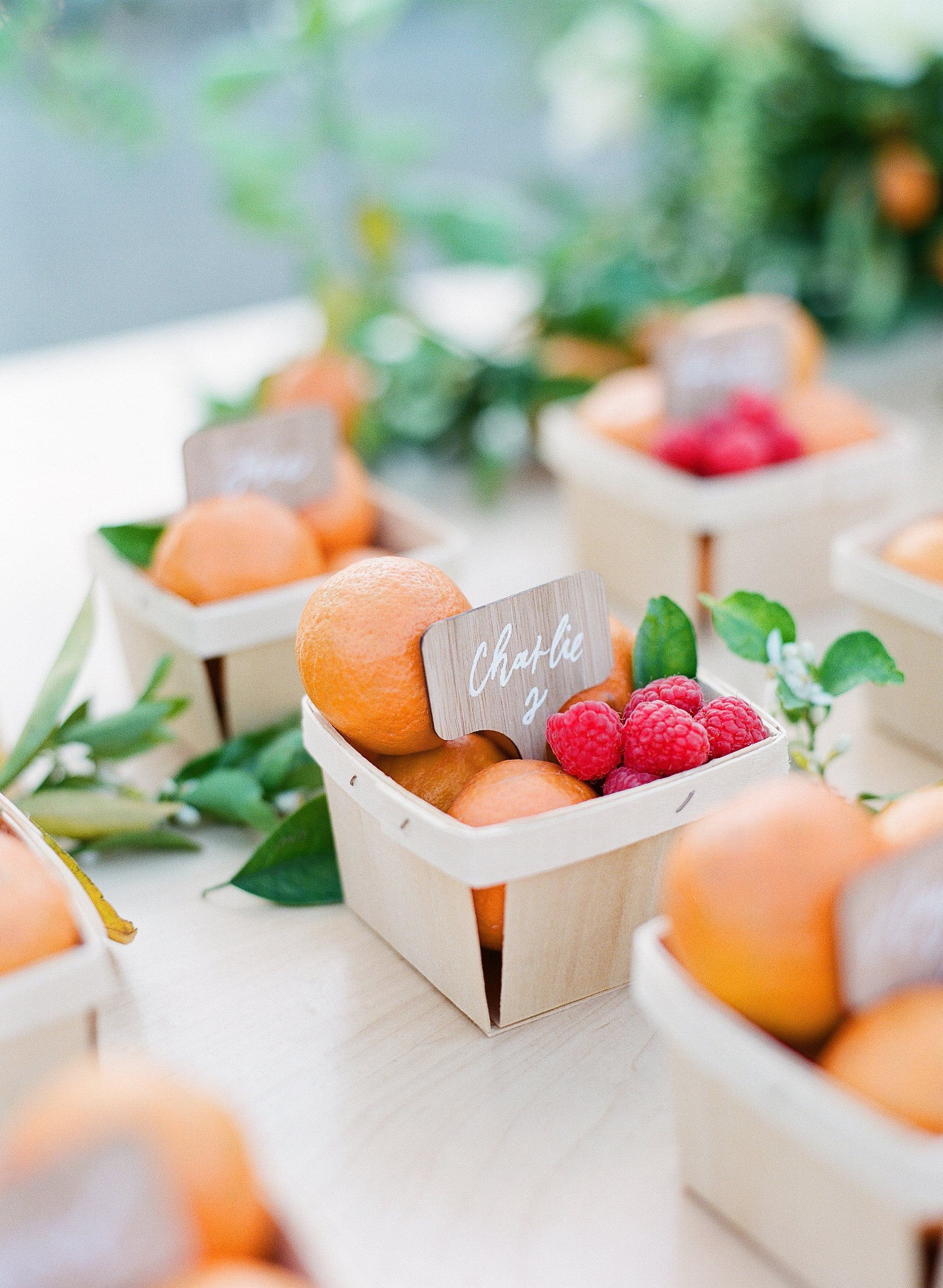 summer rehearsal dinner fruit basket escort cards