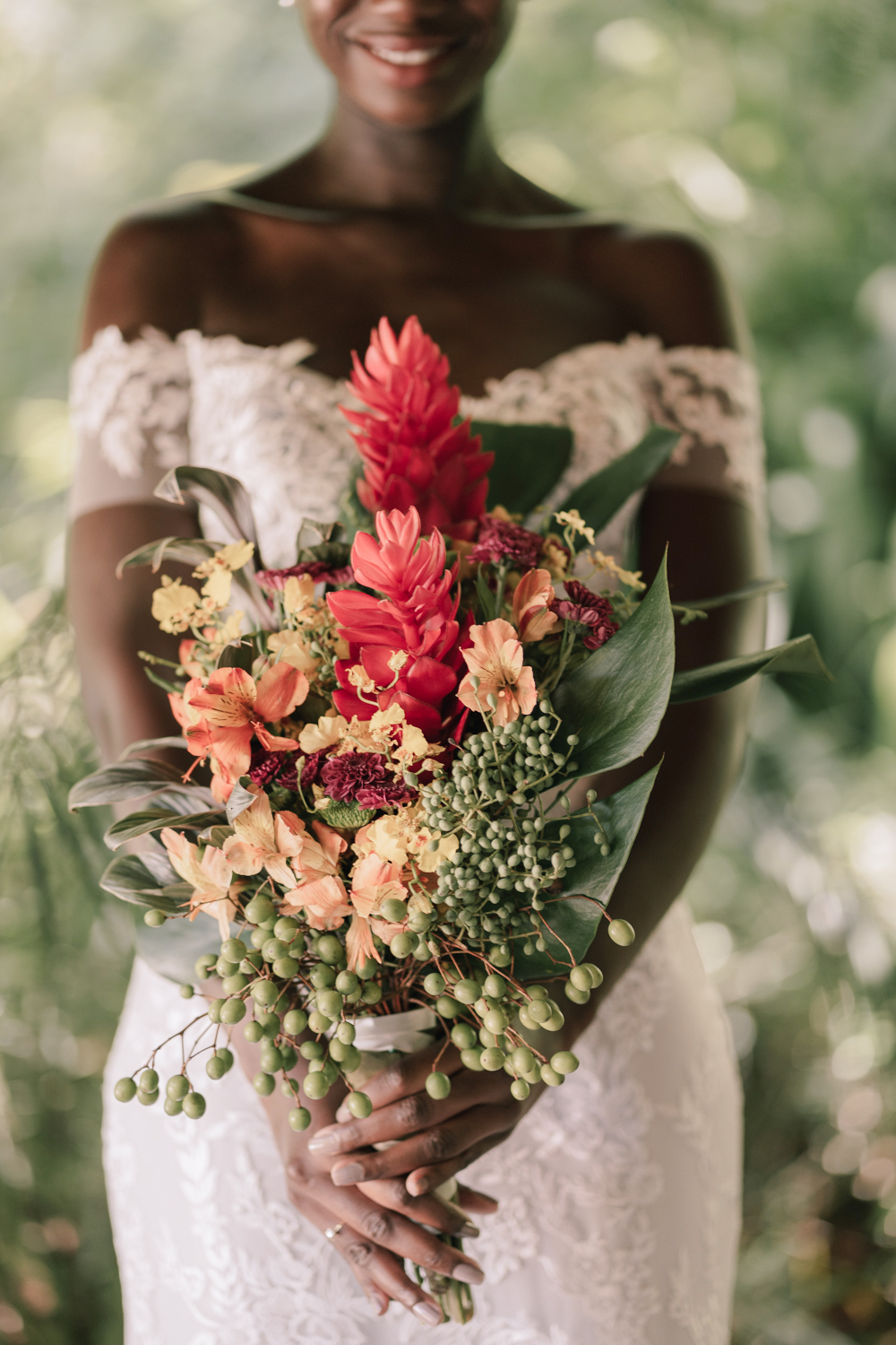 tropical blooms wedding bouquet