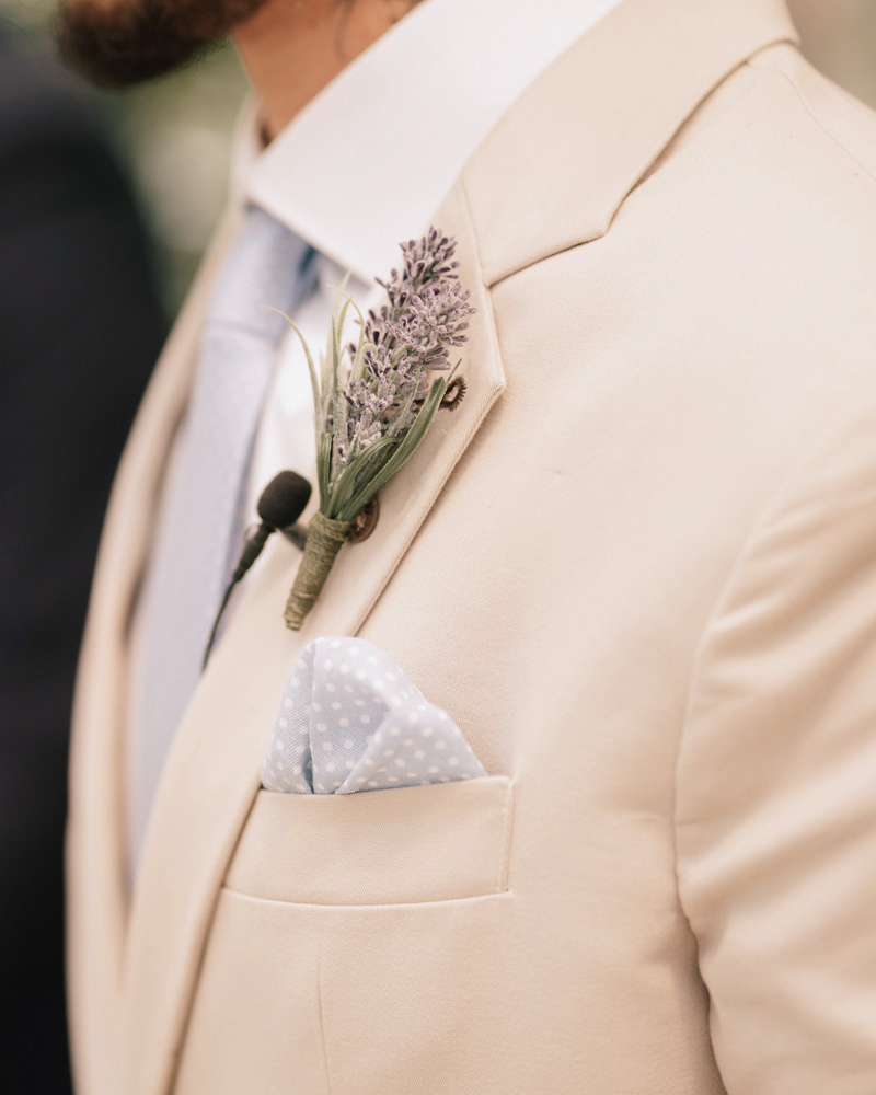 groom blue pocket square wedding boutonniere