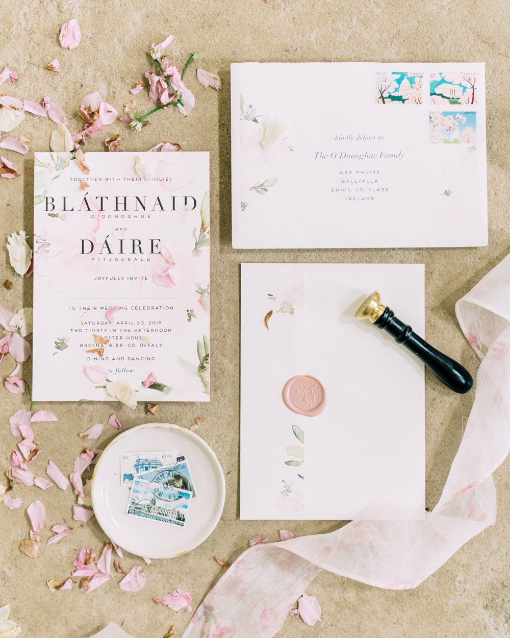 blathnaid daire wedding invitation stationery suite