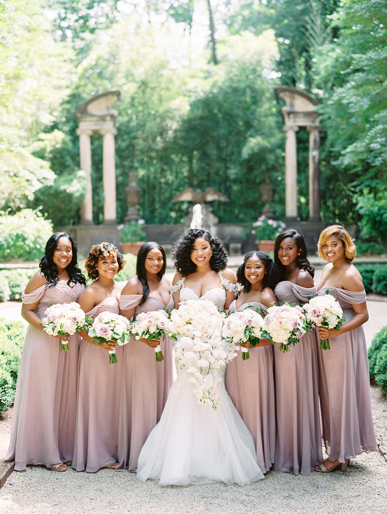 amelia justin wedding bridesmaids in mauve