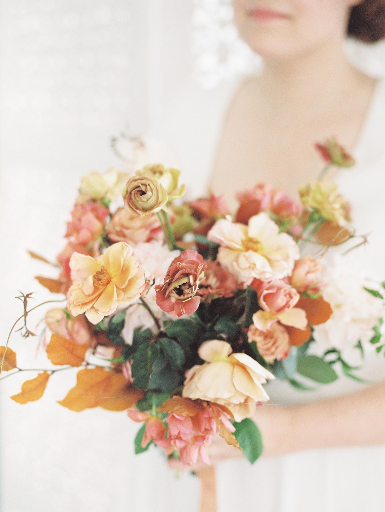 elizabeth scott orange, pink and yellow wedding bouquet