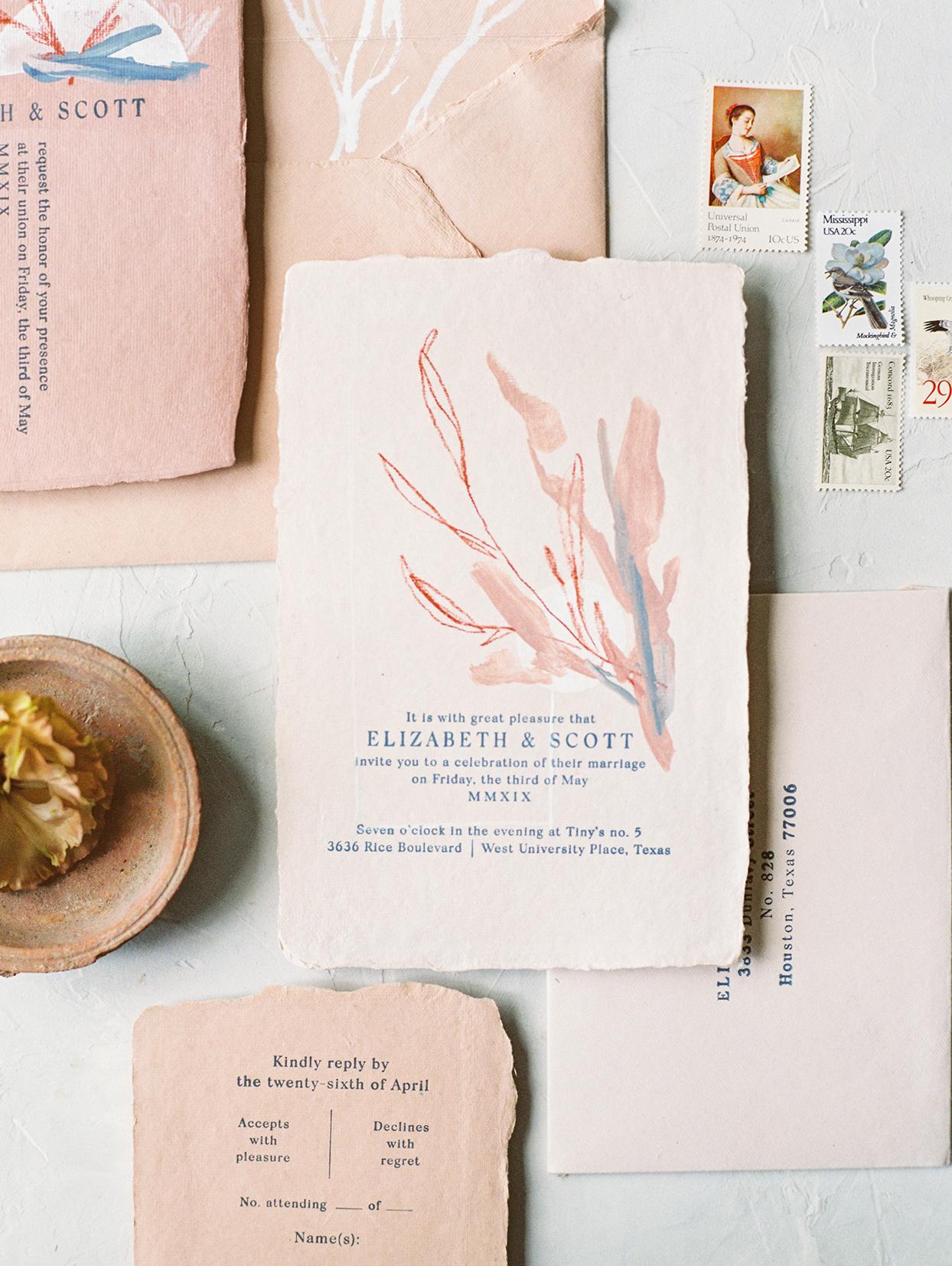 elizabeth scott pink and blue wedding invitations