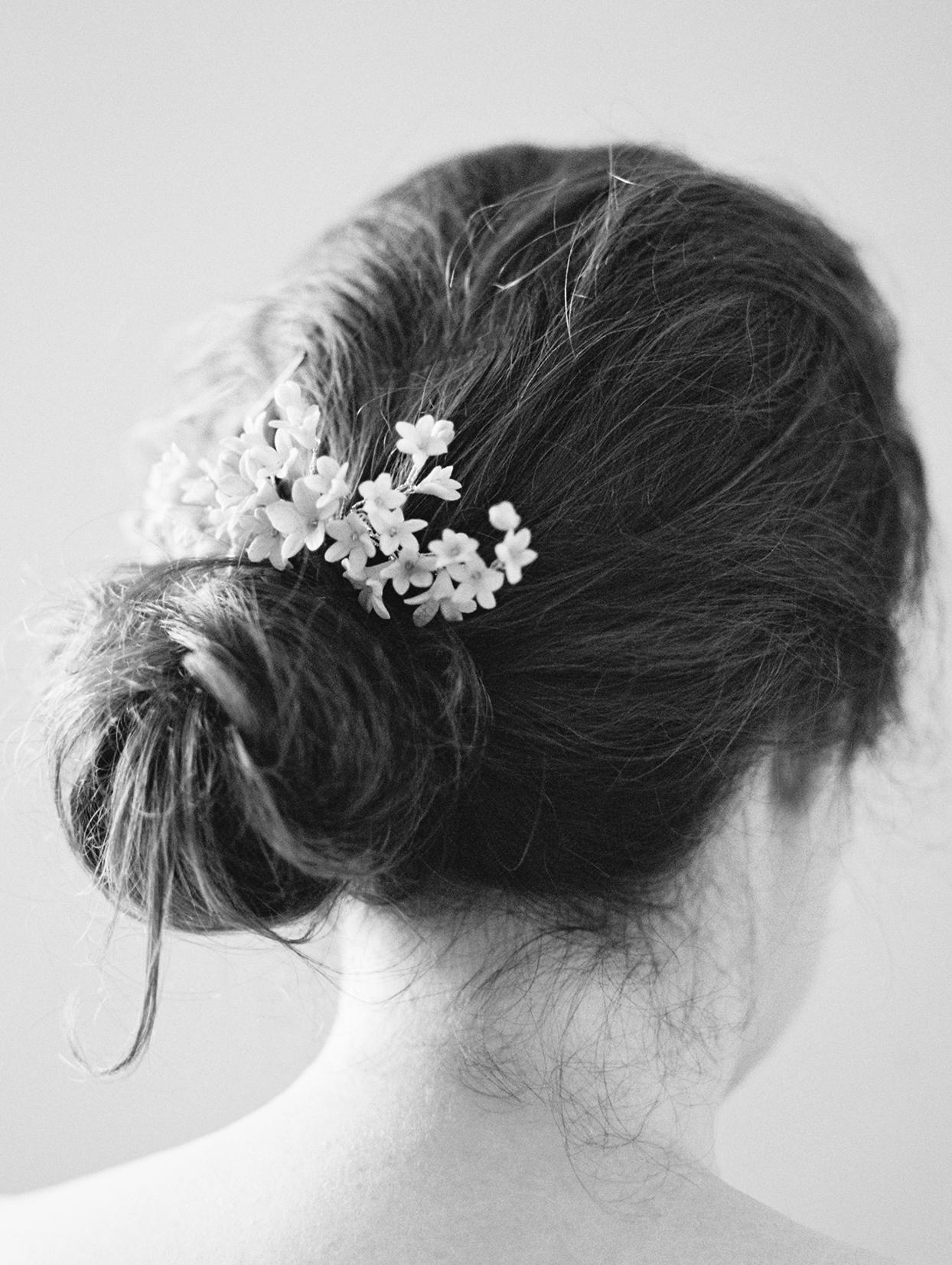 elizabeth scott wedding bride updo with flowers