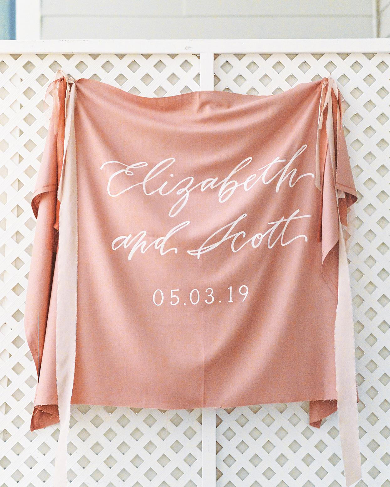 elizabeth scott wedding hanging welcome sign