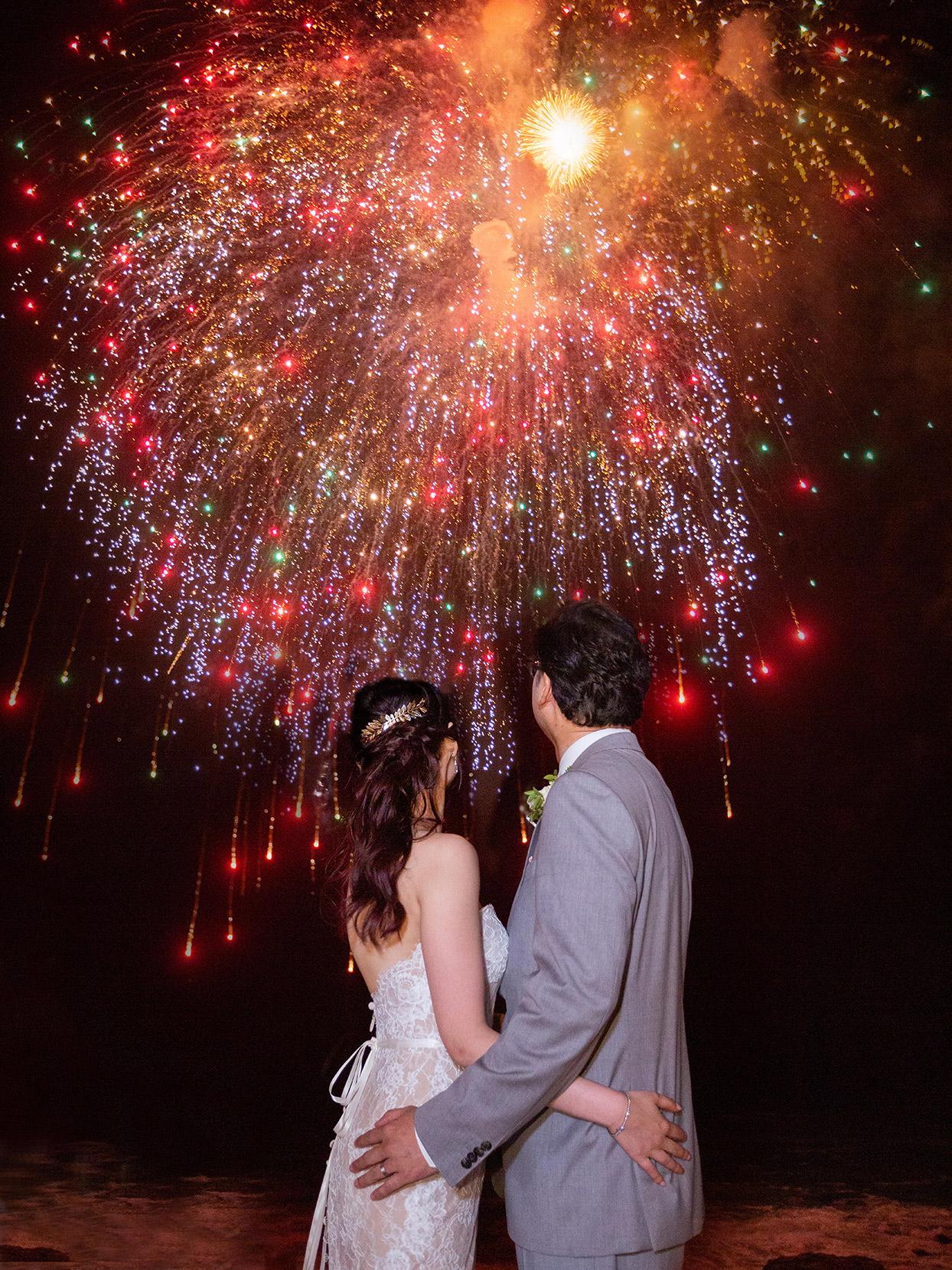 kirsten deran wedding couple watching fireworks