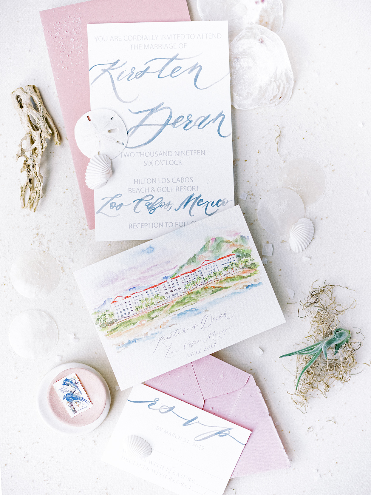 kirsten deran wedding invites watercolor pink and blue