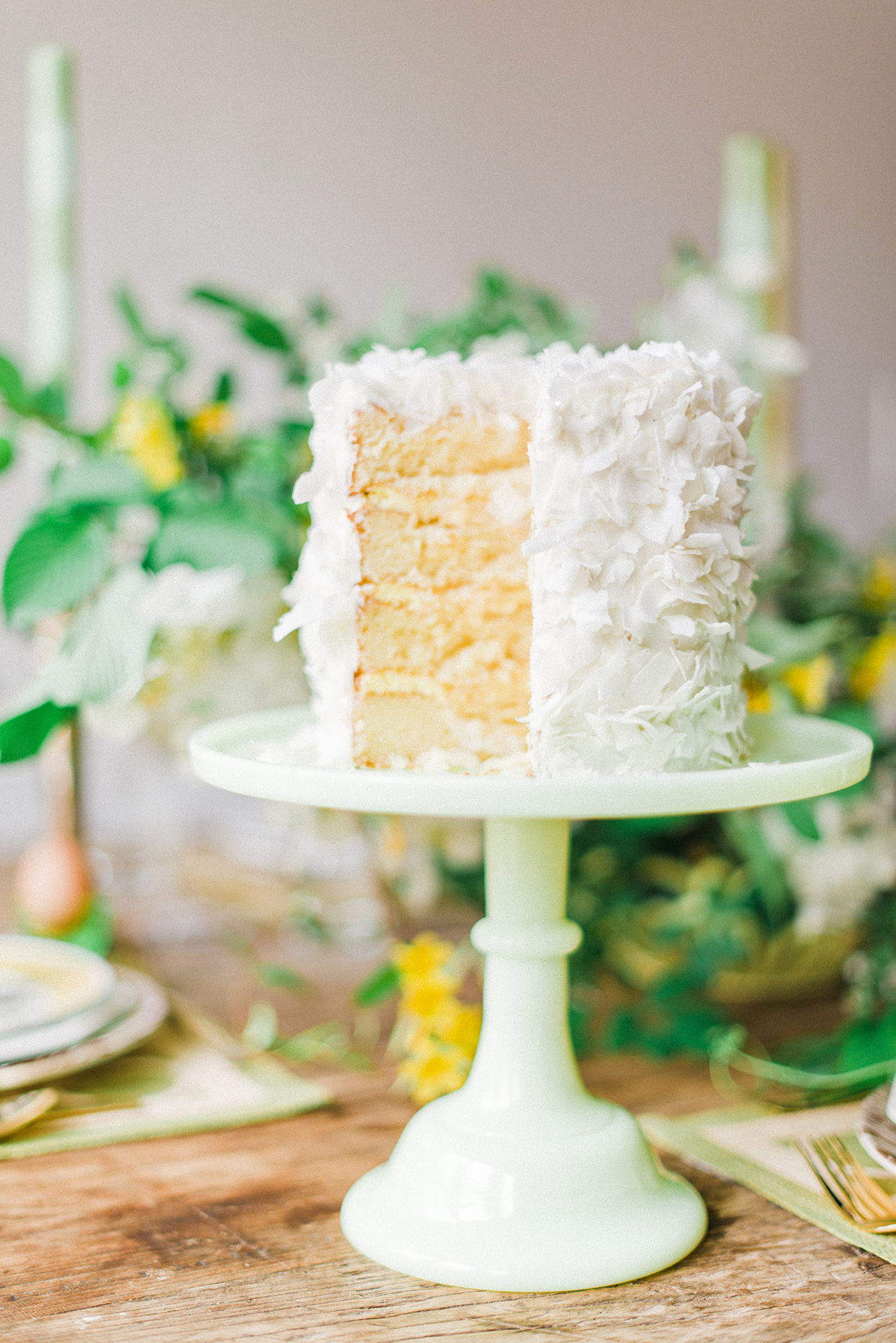 petite white wedding cake with coconut cream
