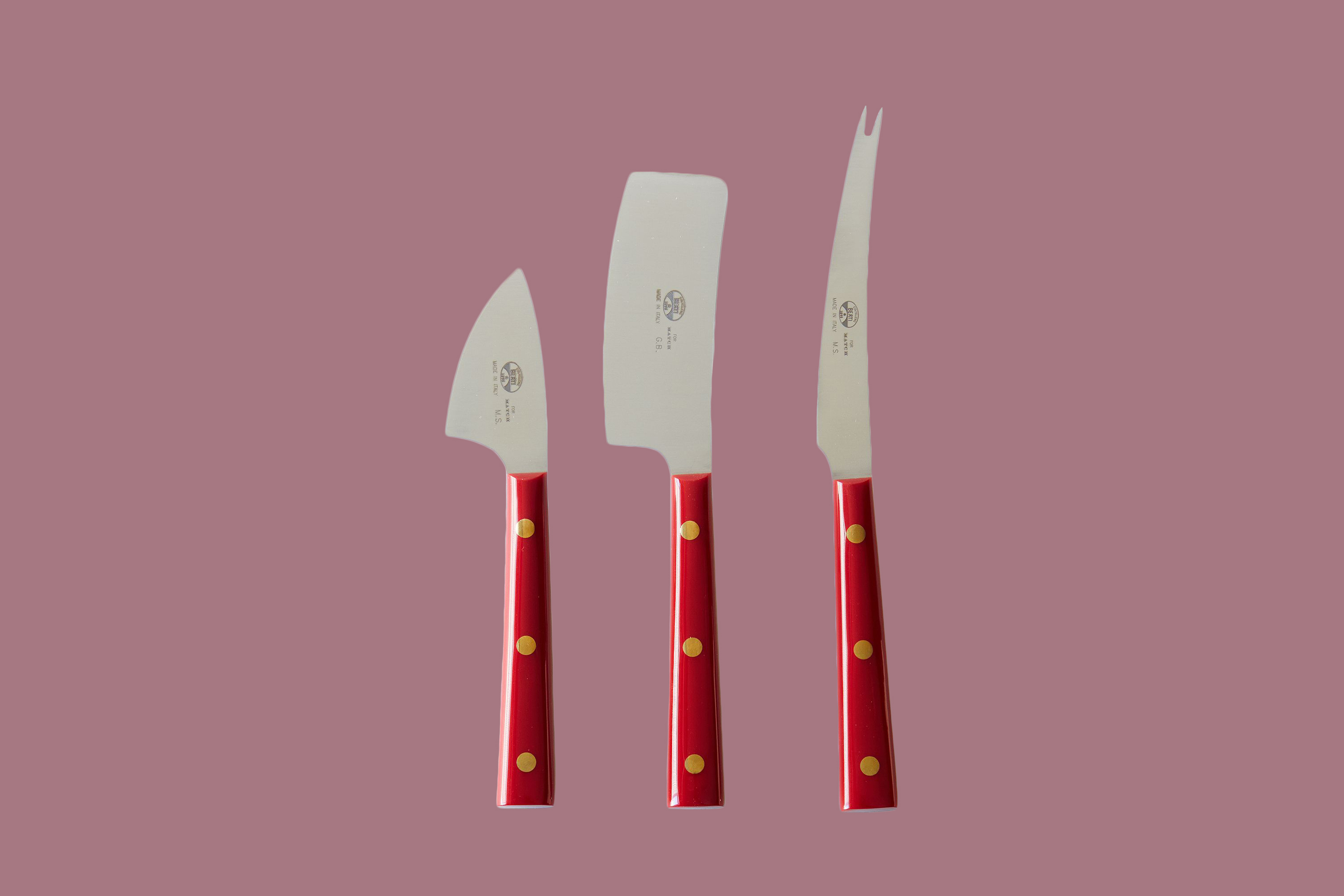 Berti Red-Handled Italian Cheese Knives